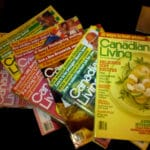 Several issues of Canadian Living magazines from the 1980s, spread out on a table.