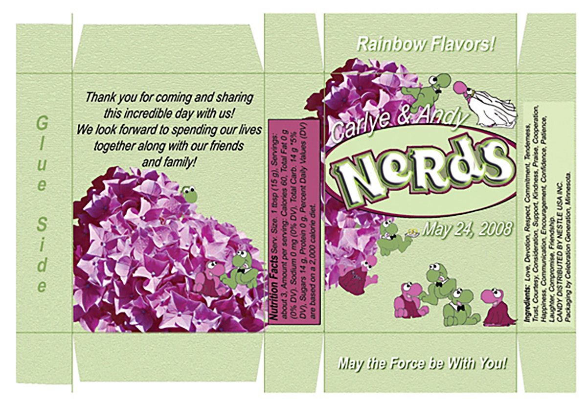 An image file for a customized Nerds favor box. It's green with pink accents and hydrangeas.
