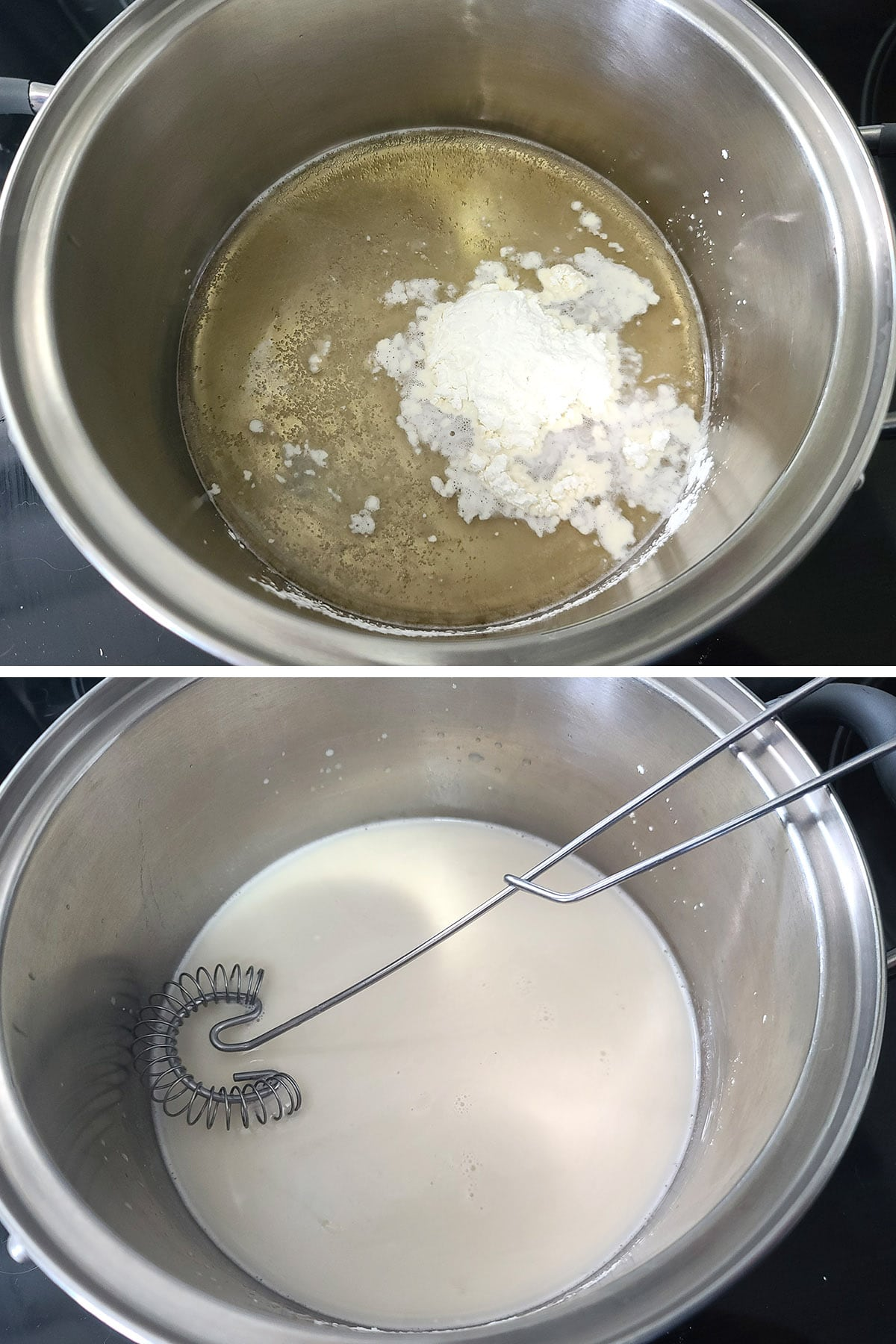 Corn starch is added to beer and whisked in.