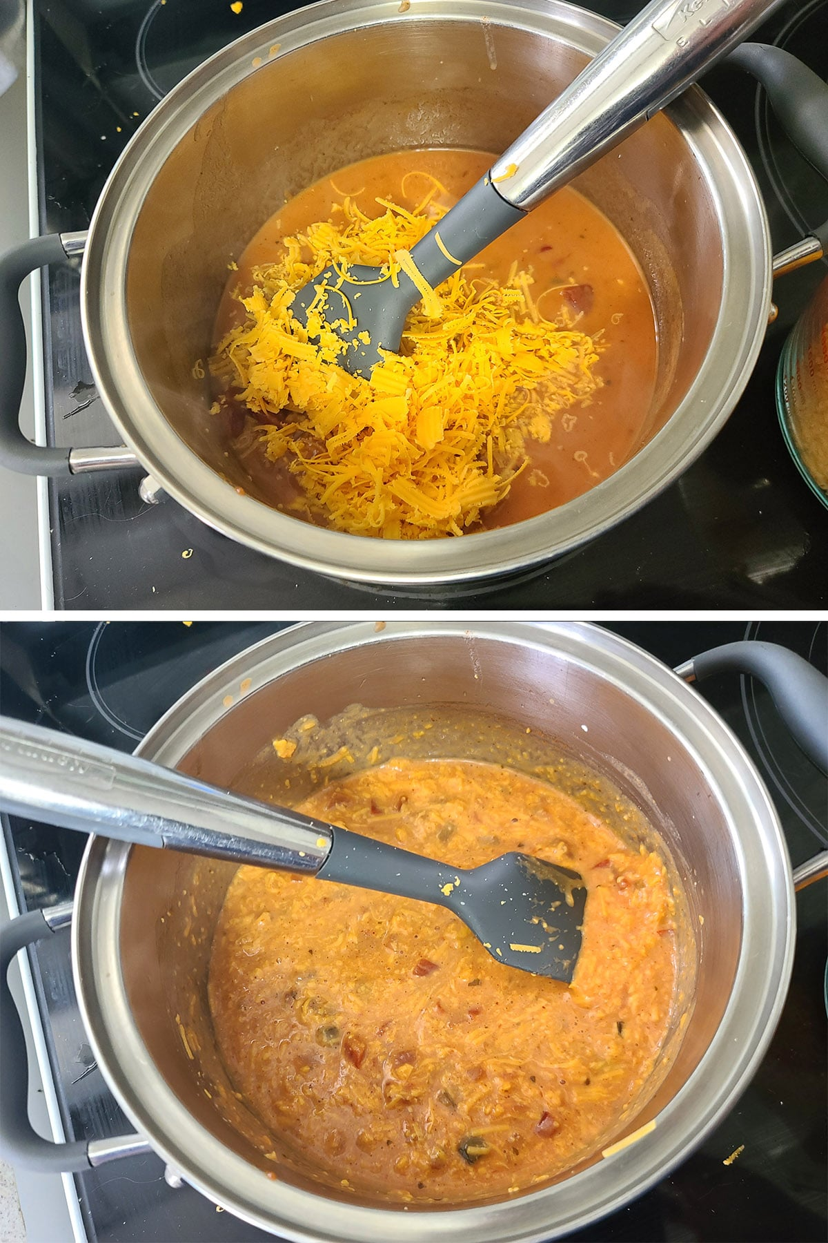 Cheese is added to the beer and salsa and stirred in.