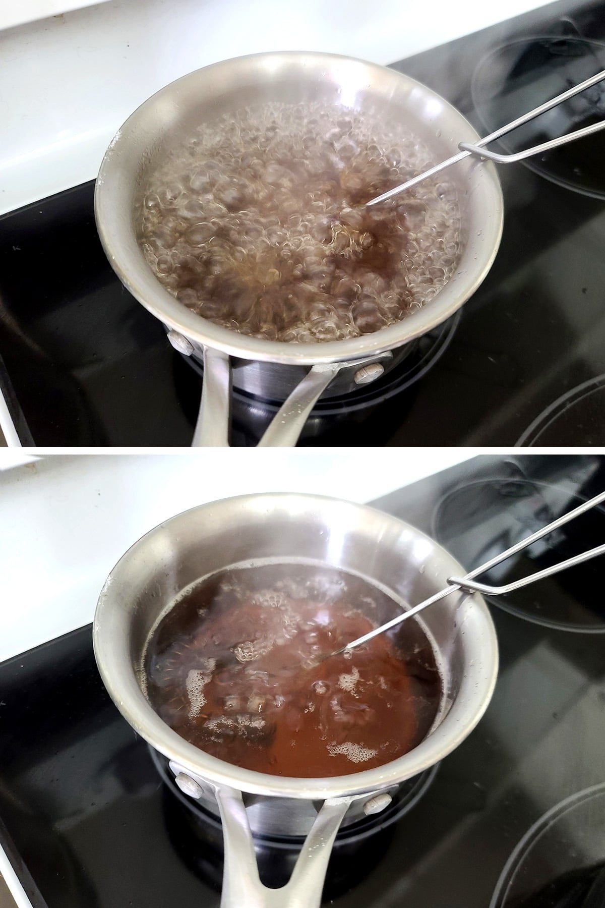 A two part image showing a small pot of clear brown liquid, at first boiling, then at a simmer.