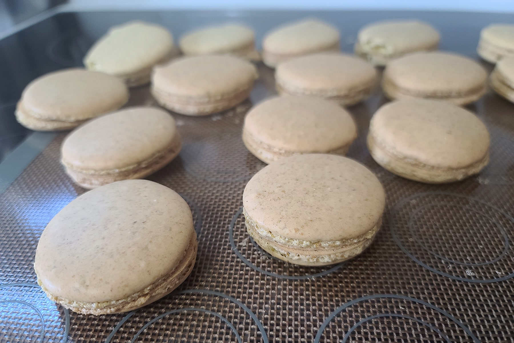 A pan of macarons that have been organized into pairs.