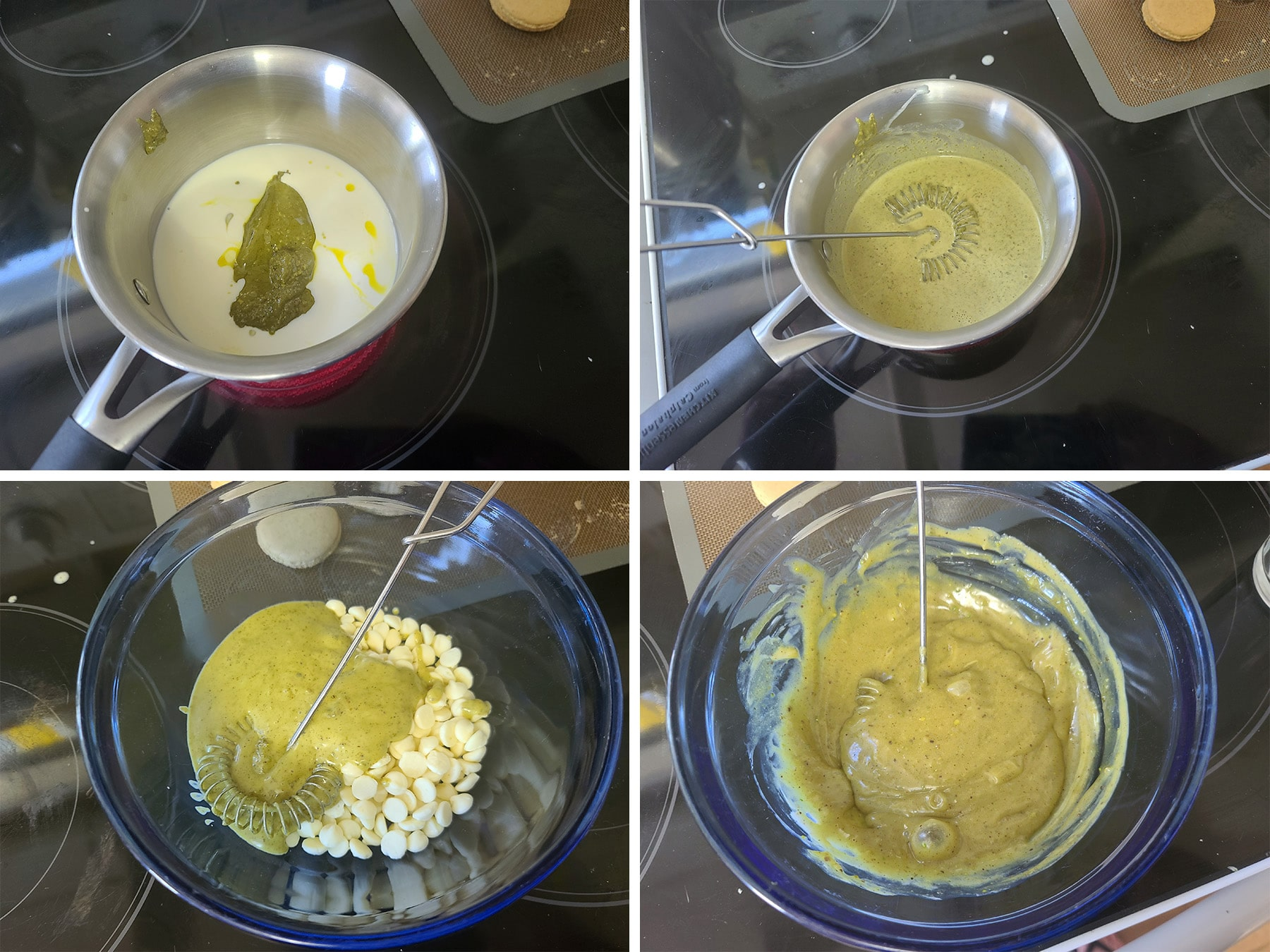 Cream and pistachio butter being cooked together and stirred into white chocolate chips to make the ganache filling.