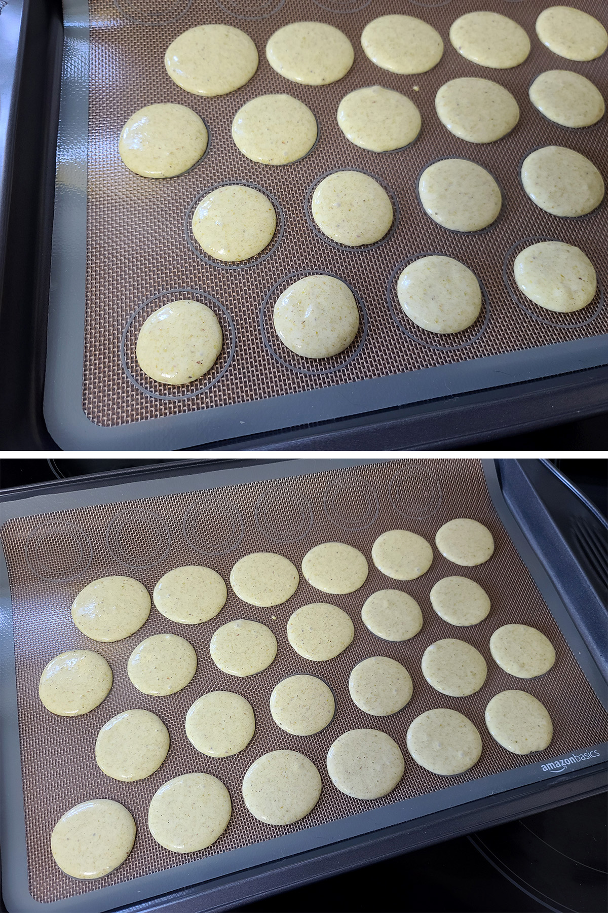 macaron batter that has been piped out onto the silicone baking sheets.