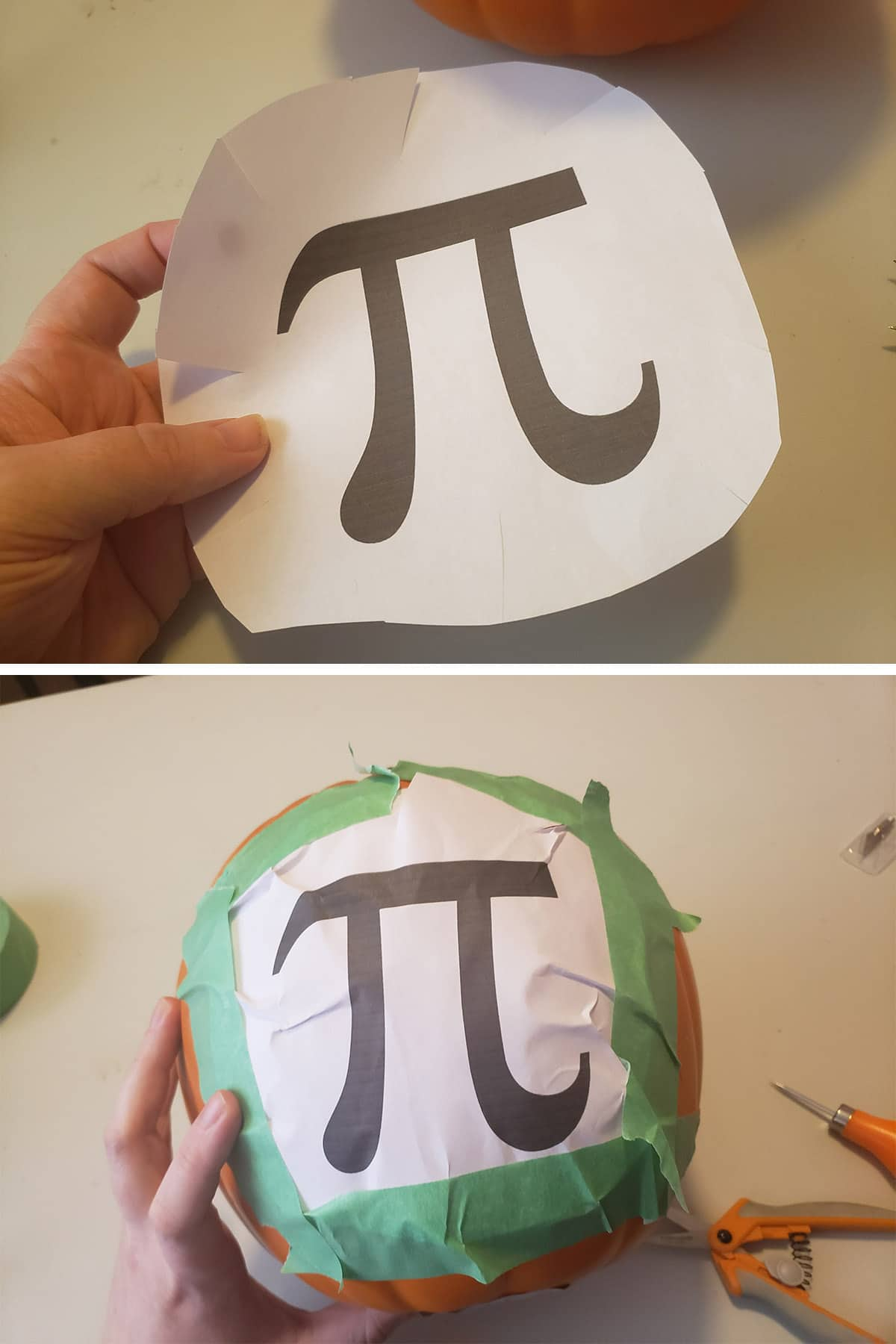 A paper with the pi symbol being taped to a foam pumpkin.