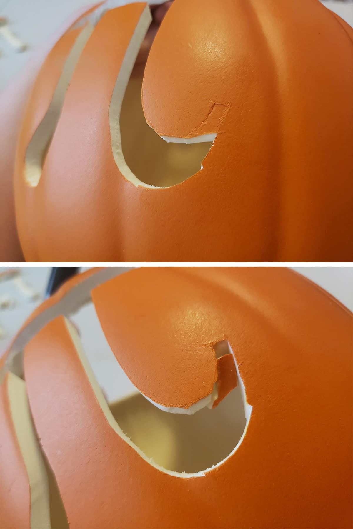 The pi symbol being cut out of a foam pumpkin.