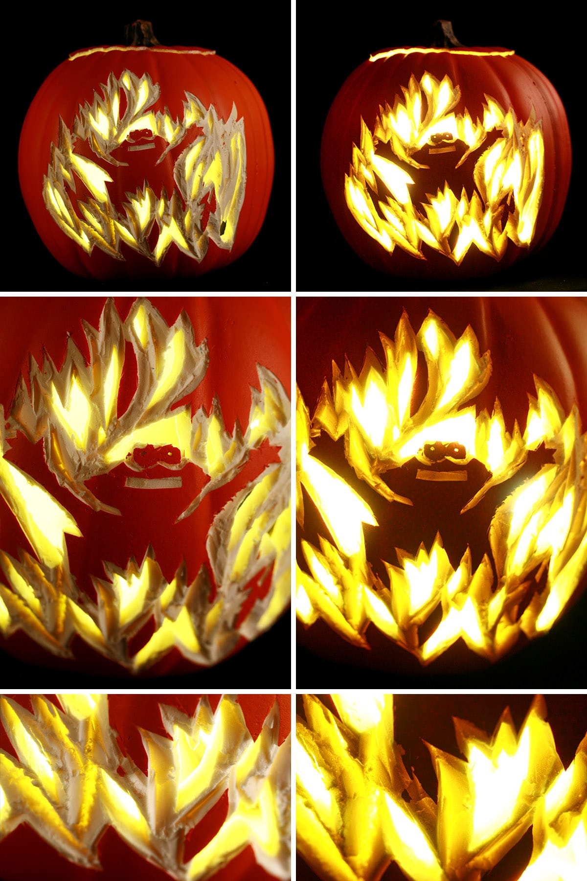Several different views of the Elmo in Flames foam pumpkin.