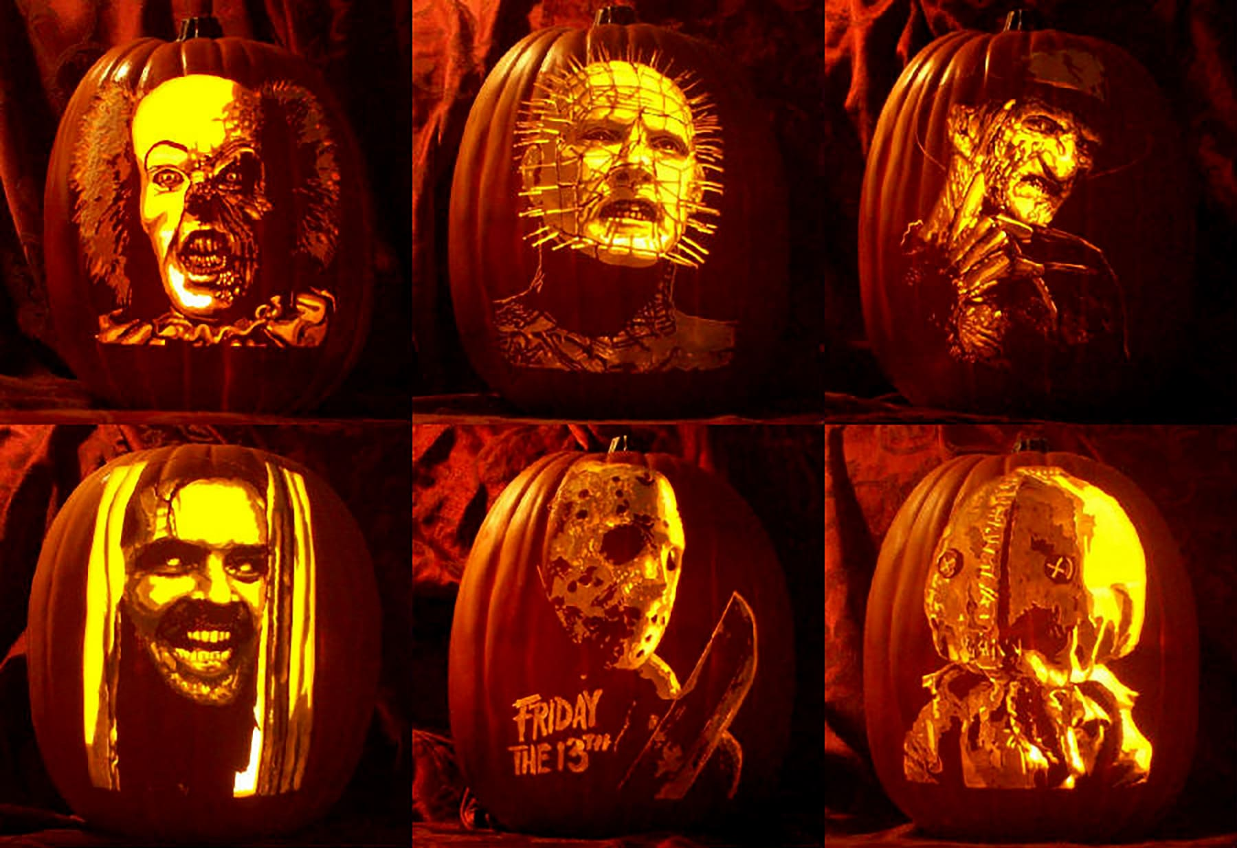6 foam pumpkins carved with the images of various horror movie characters.