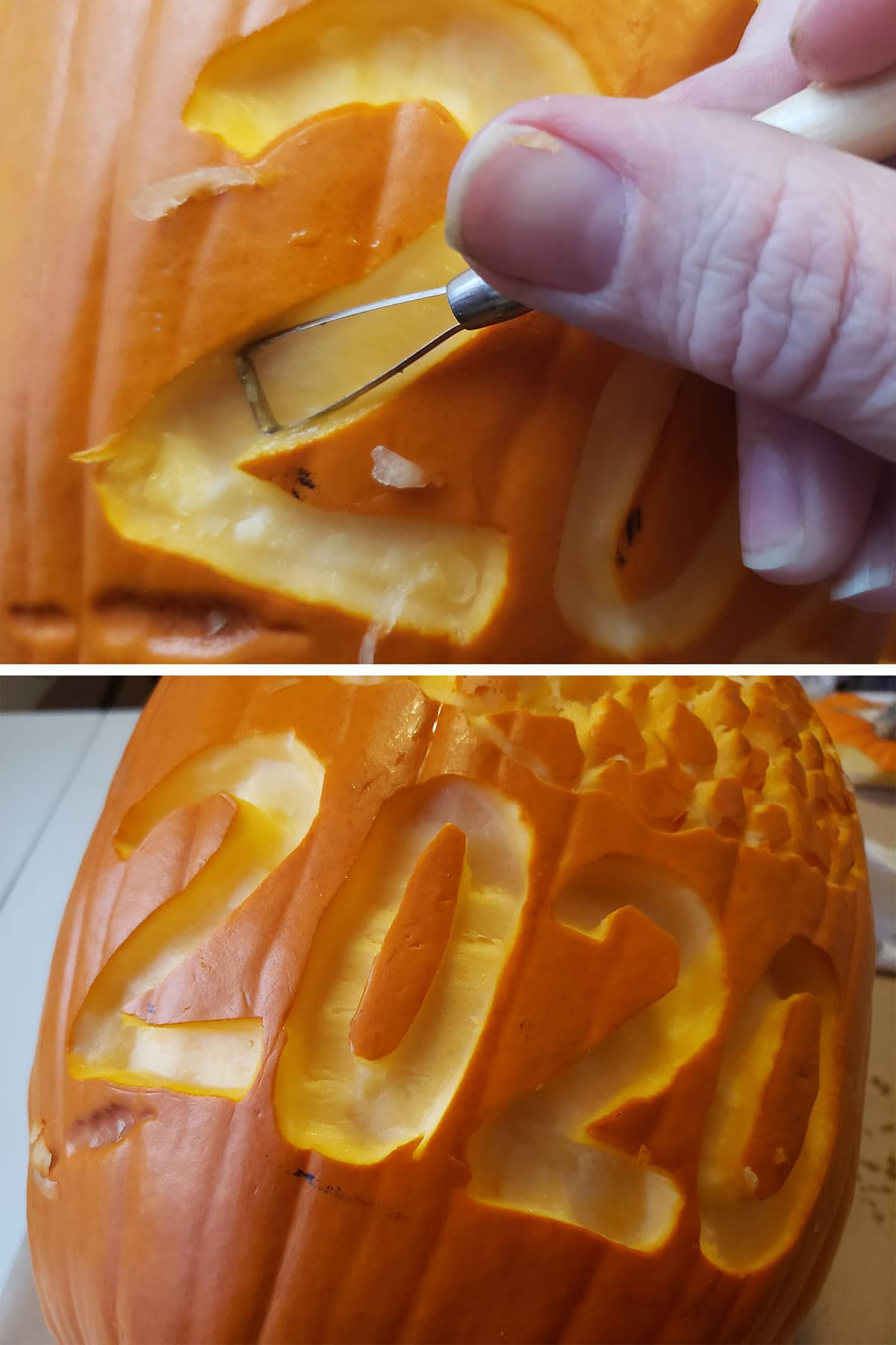 Using a carving tool to strip away sections of orange pumpkin rind.