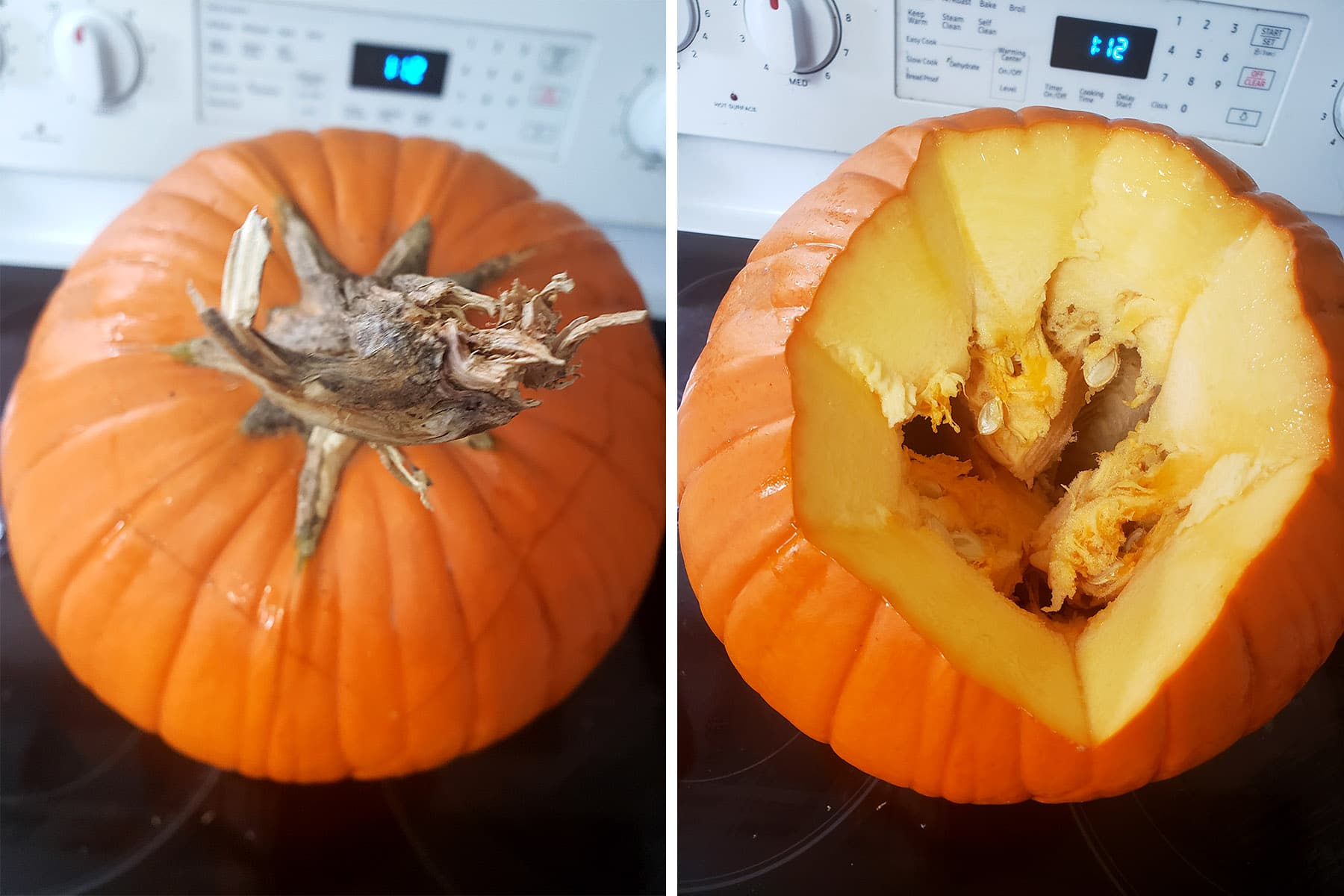 A pumpkin with the top cut off it.