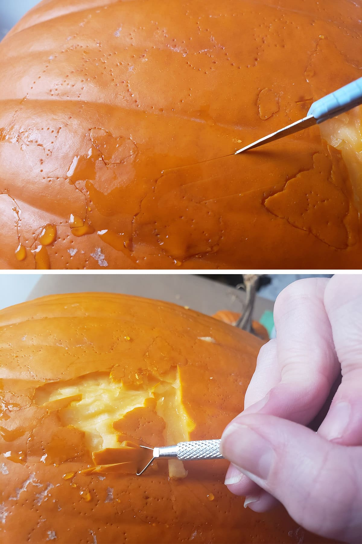 Using an X-Acto knife to trim sections of the pumpkin design.