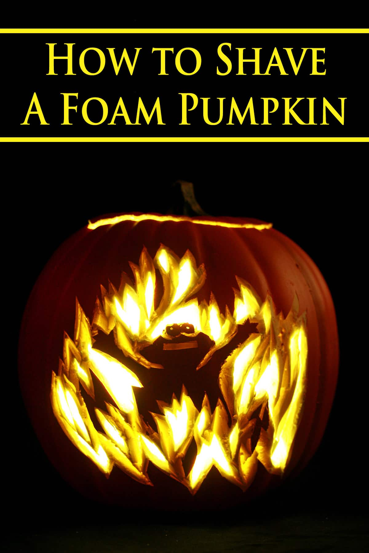 A foam pumpkin shaved to look like Elmo in fire. Yellow text says how to shave a foam pumpkin.