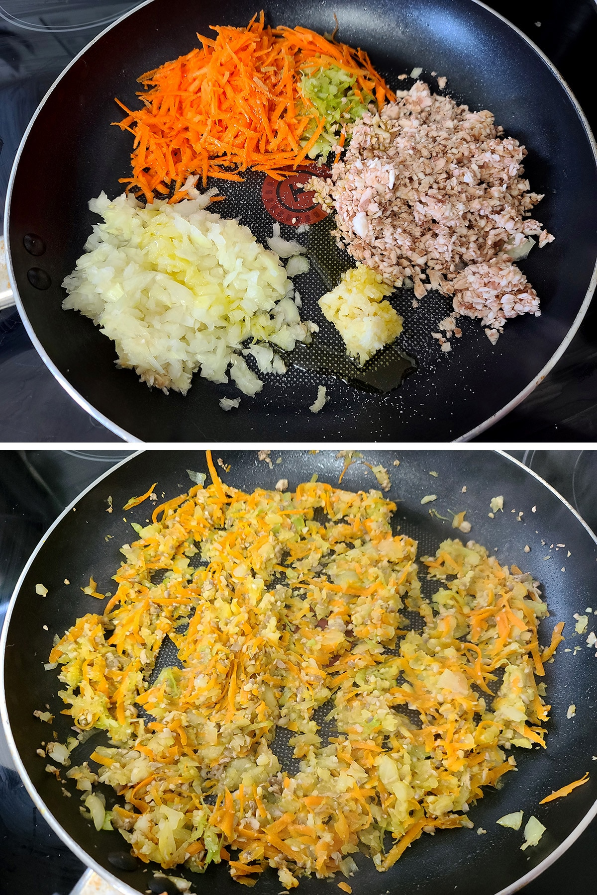 Carrots, mushrooms, onions, and garlic in a nonstick pan, before and ater mixing and cooking down.