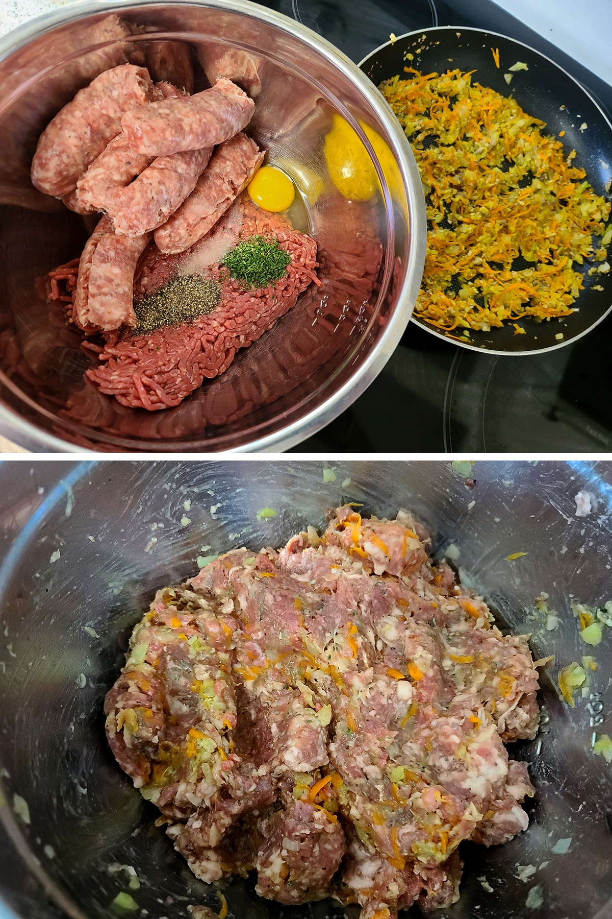 A bowl of ground beef, Italian sausage, and seasonings, before and after being mixed together.