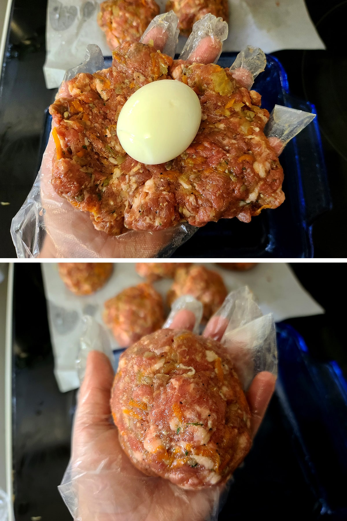 A hand holds a patty of meat mixture with peeled hardboiled egg in the middle, then the finished Scotch Egg.