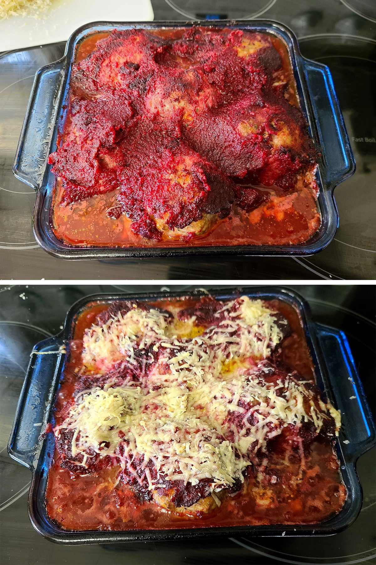 A baked pan of individual meatloaves, before and after adding cheese on top.