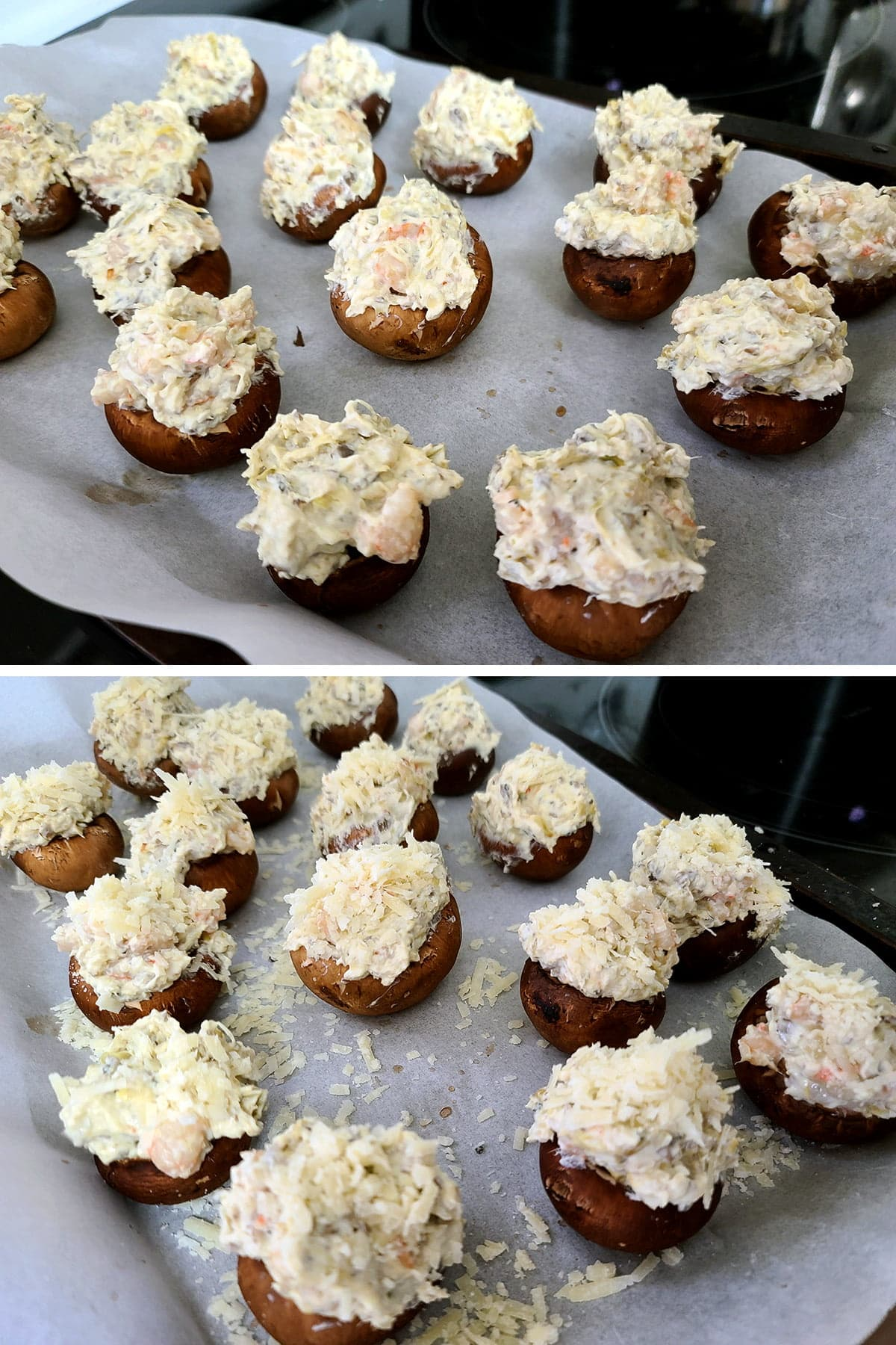 A two part compilation image showing the stuffed mushrooms before and after the grated cheese is added to the top.