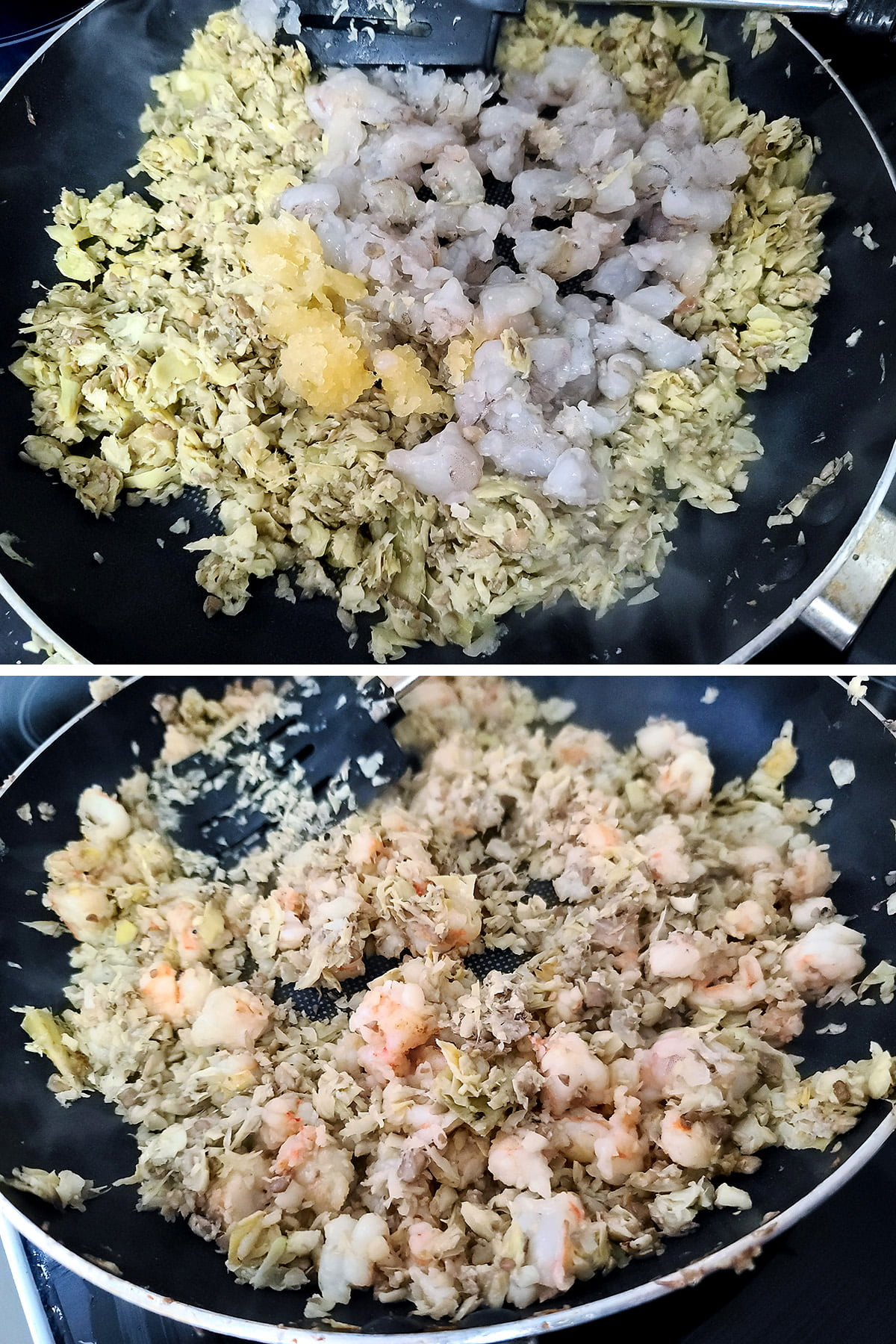 A two part compilation image showing shrimp and garlic being added to the frying pan, and the mixture being cooked together.