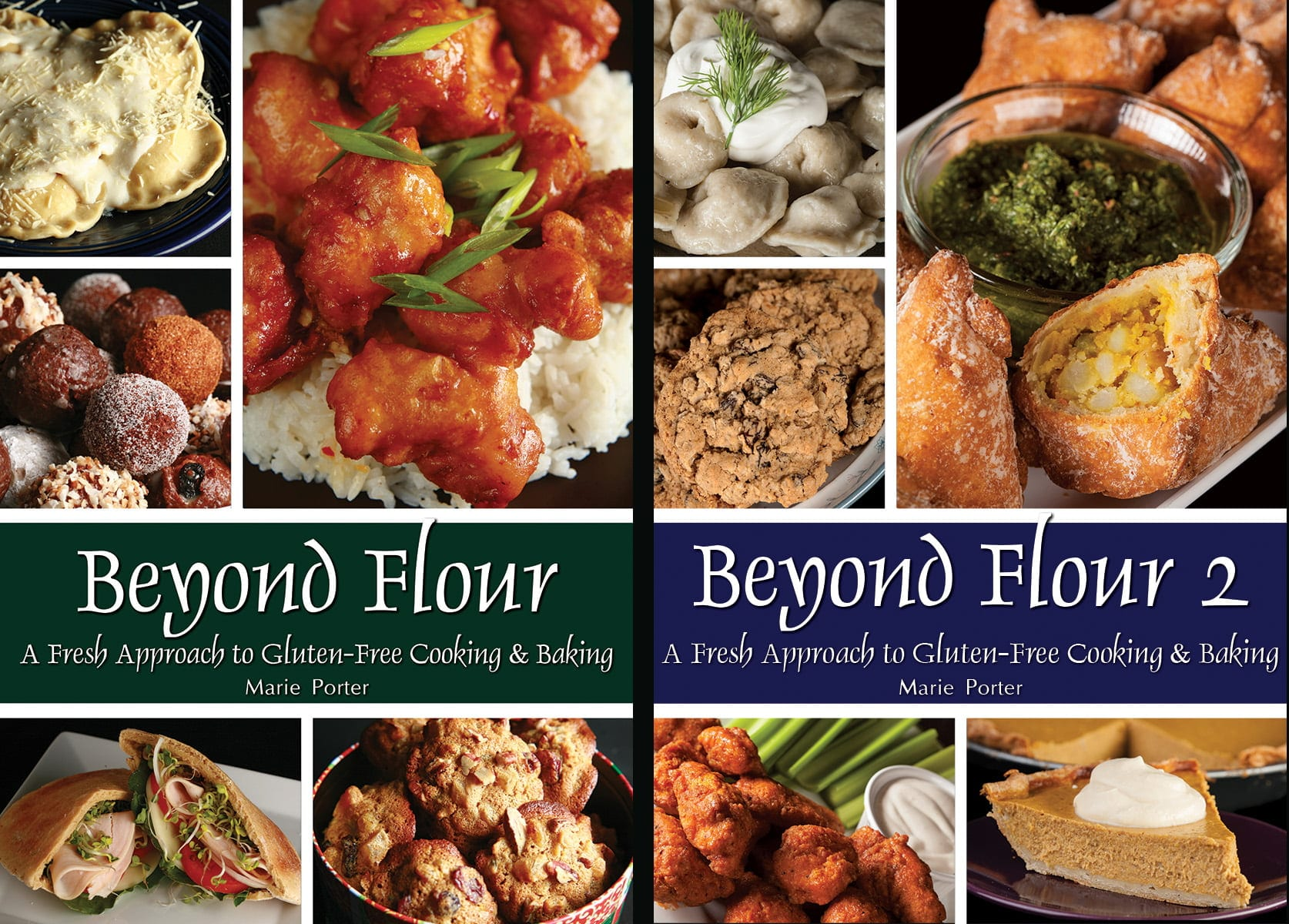 "Cover images for both ""Beyond Flour"" and ""Beyond Flour 2"""