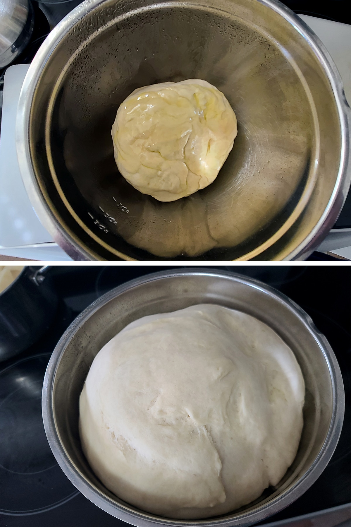 A two part image showing the pizza dough in a greased bowl, before and after the first rise.