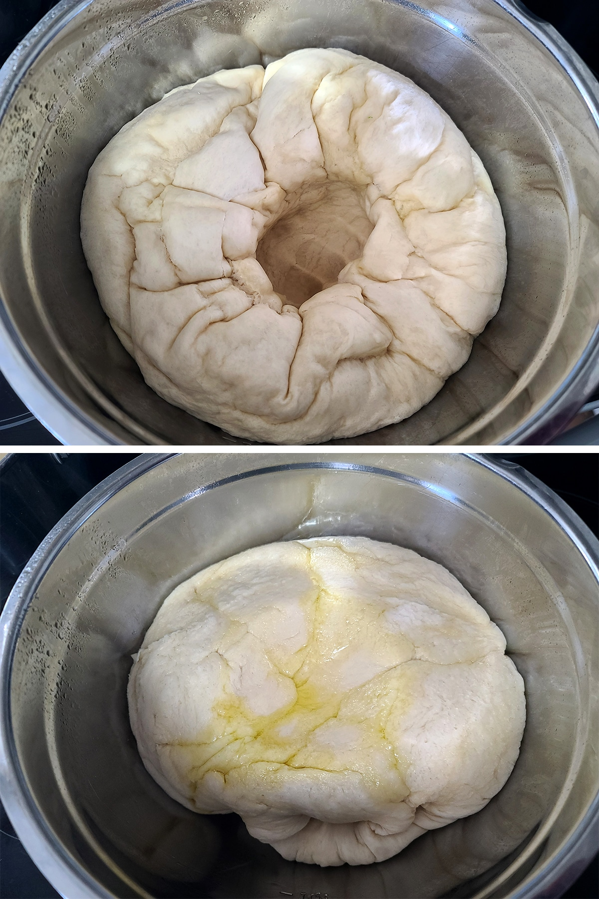 A two part image showing the dough with a punch dent in the middle, then after being flipped.