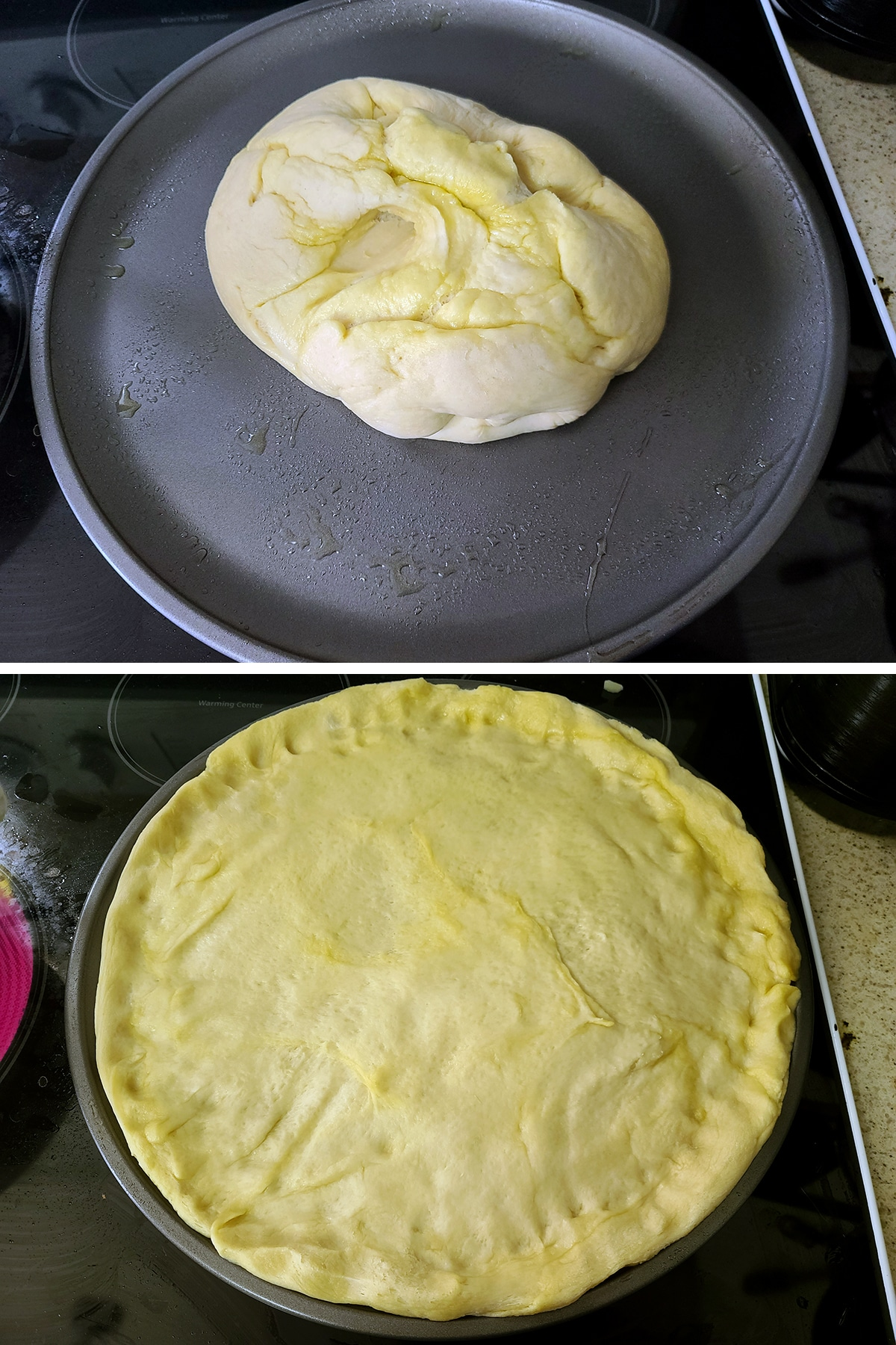 A dough ball being spread out on a greased pizza pan.