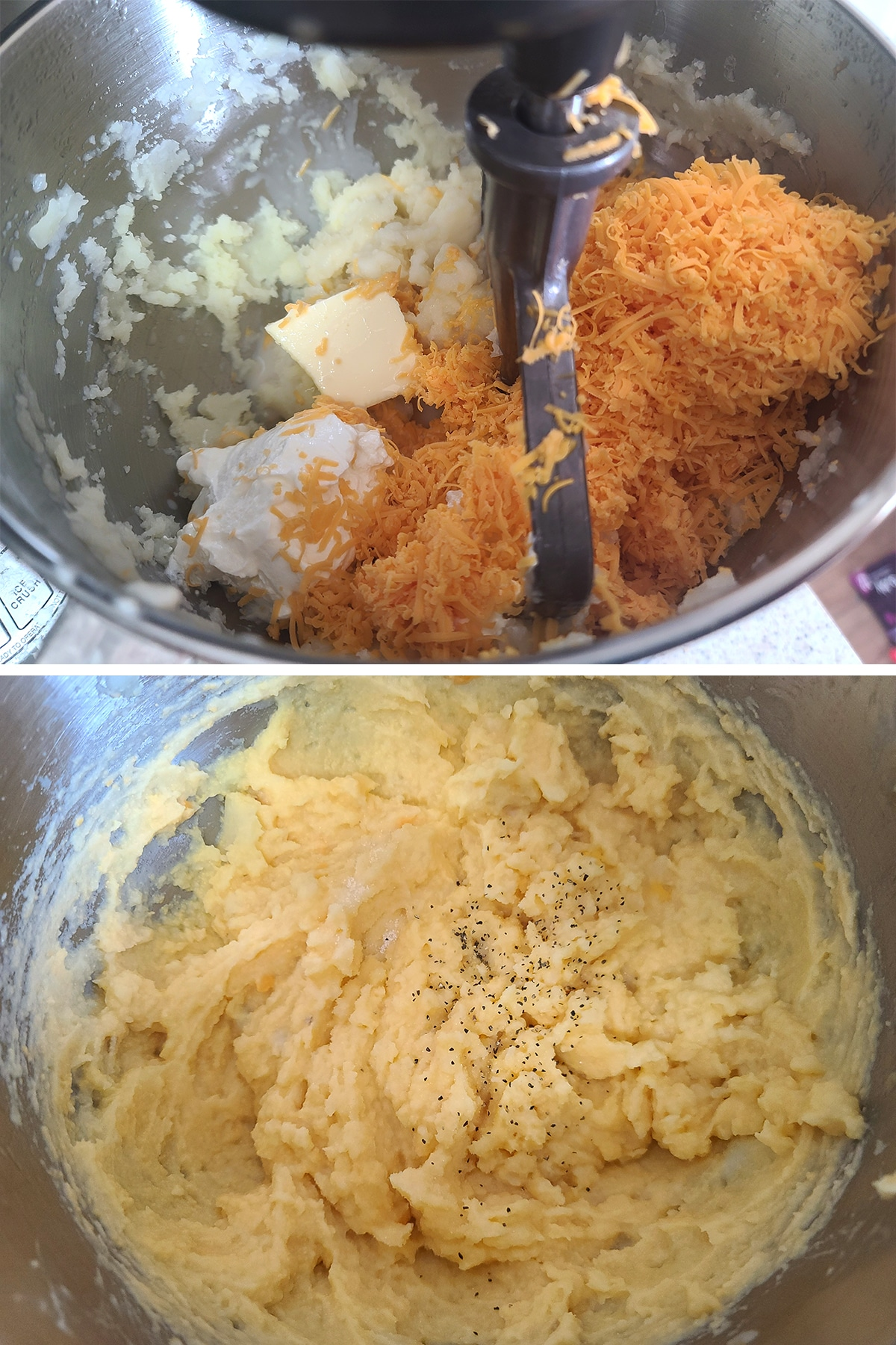 A two part image showing cheese, butter, sour cream, and milk being added to mashed potatoes, then the finished mixture after beating it together.