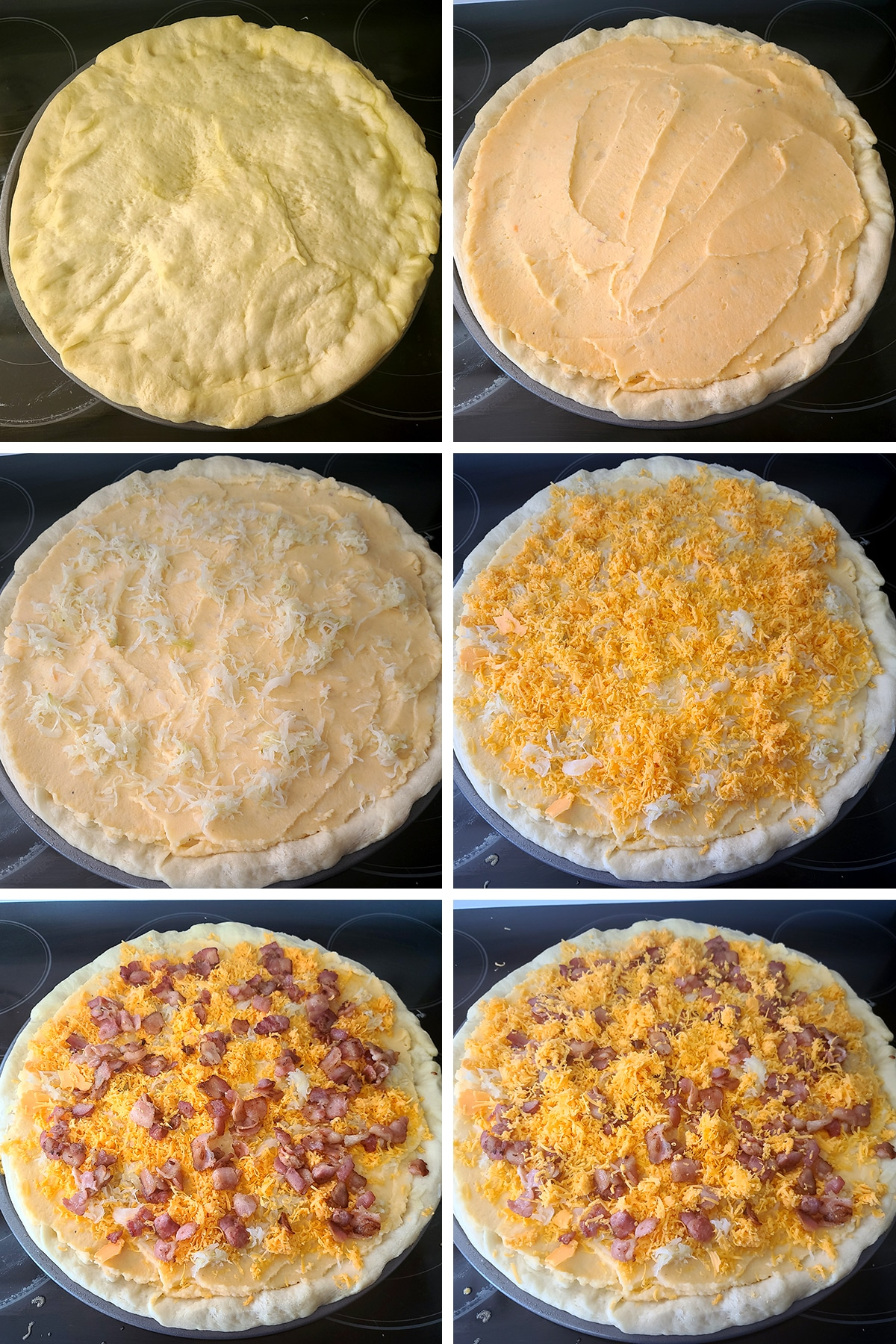 A 6 part image showing the progression of topping the pizza, as described in the post.