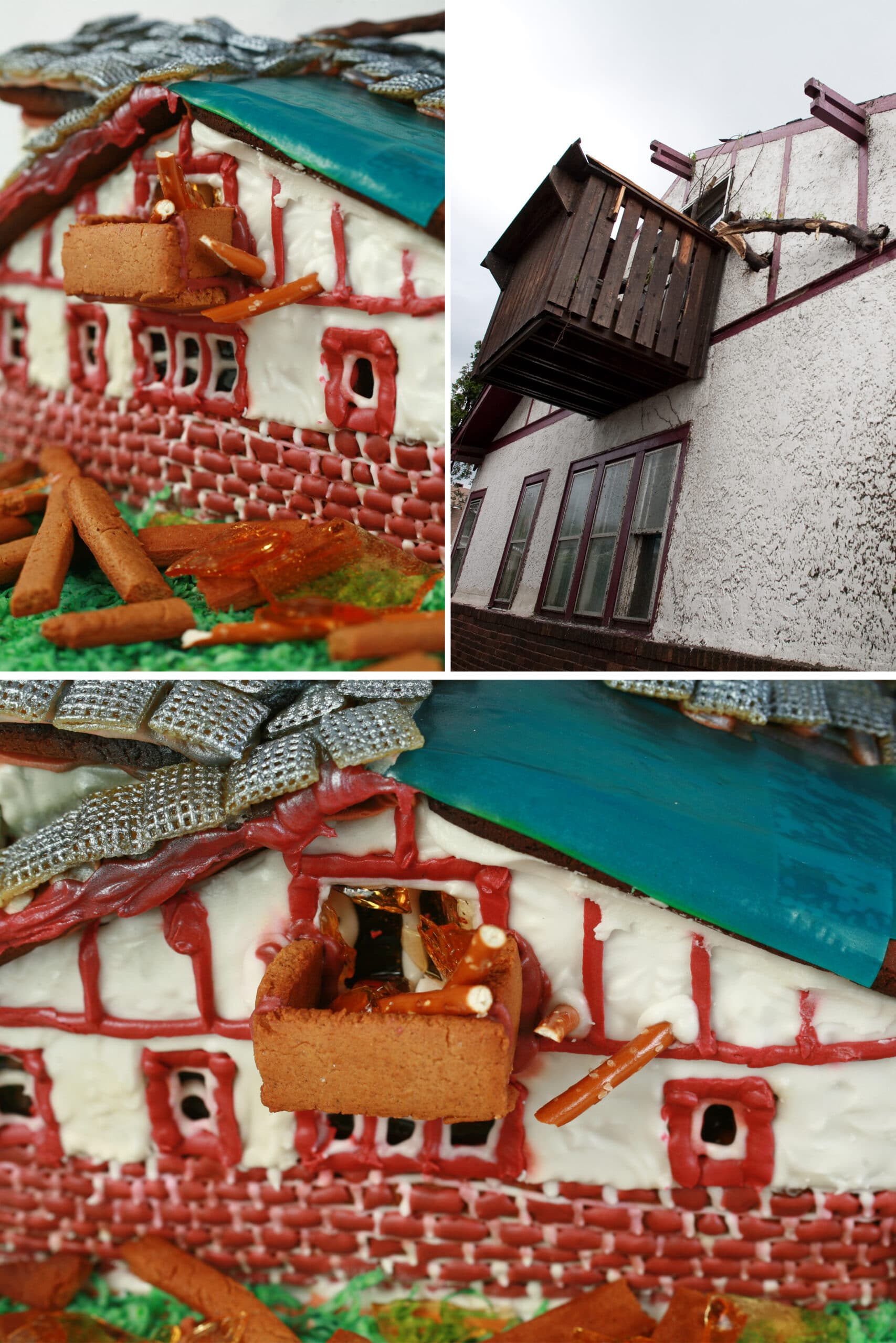 A compilation image showing the side of the gingerbread house, alongside a photo of our house on the day of the tornado.