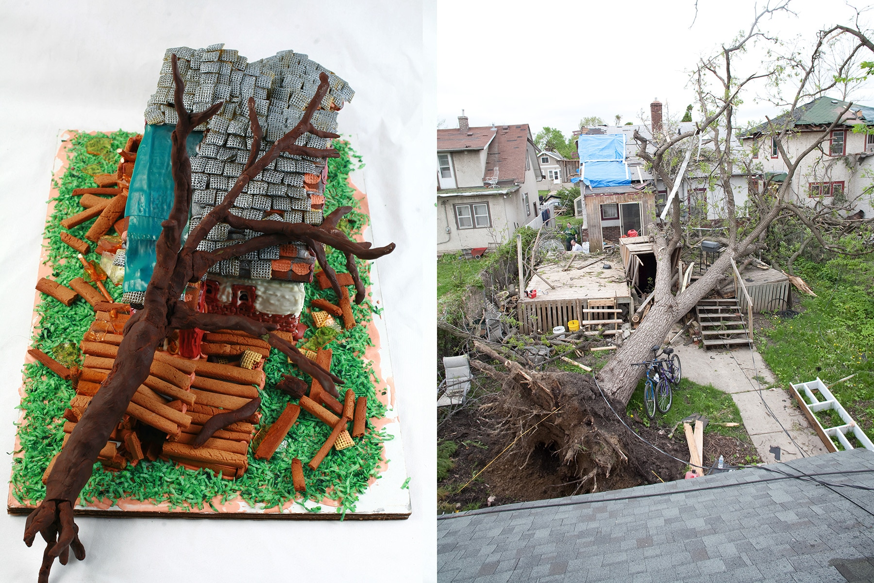 A compilation image showing the back of the gingerbread house, alongside a photo of our house on the day of the tornado.