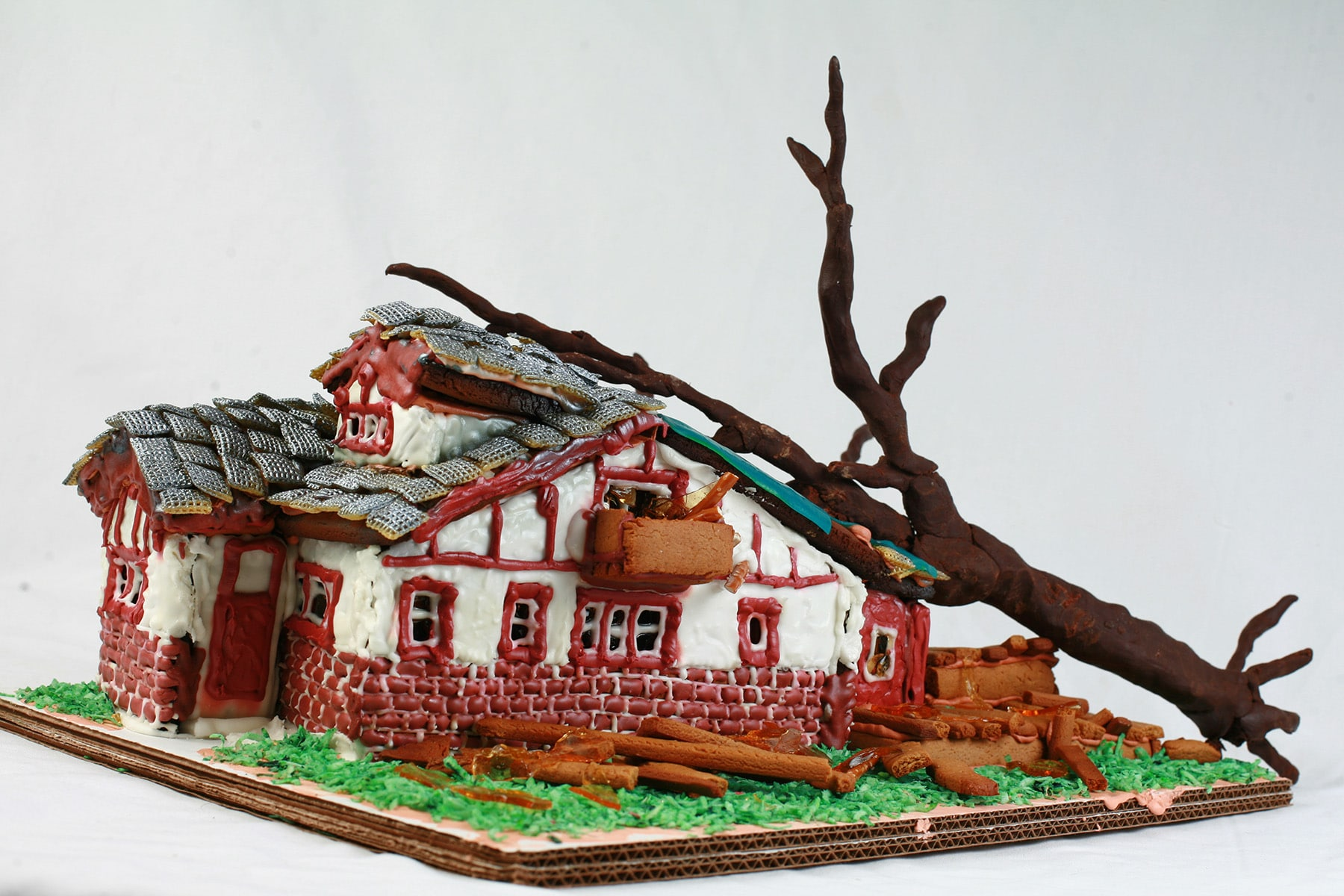 Side view of our tornado smashed gingerbread house.