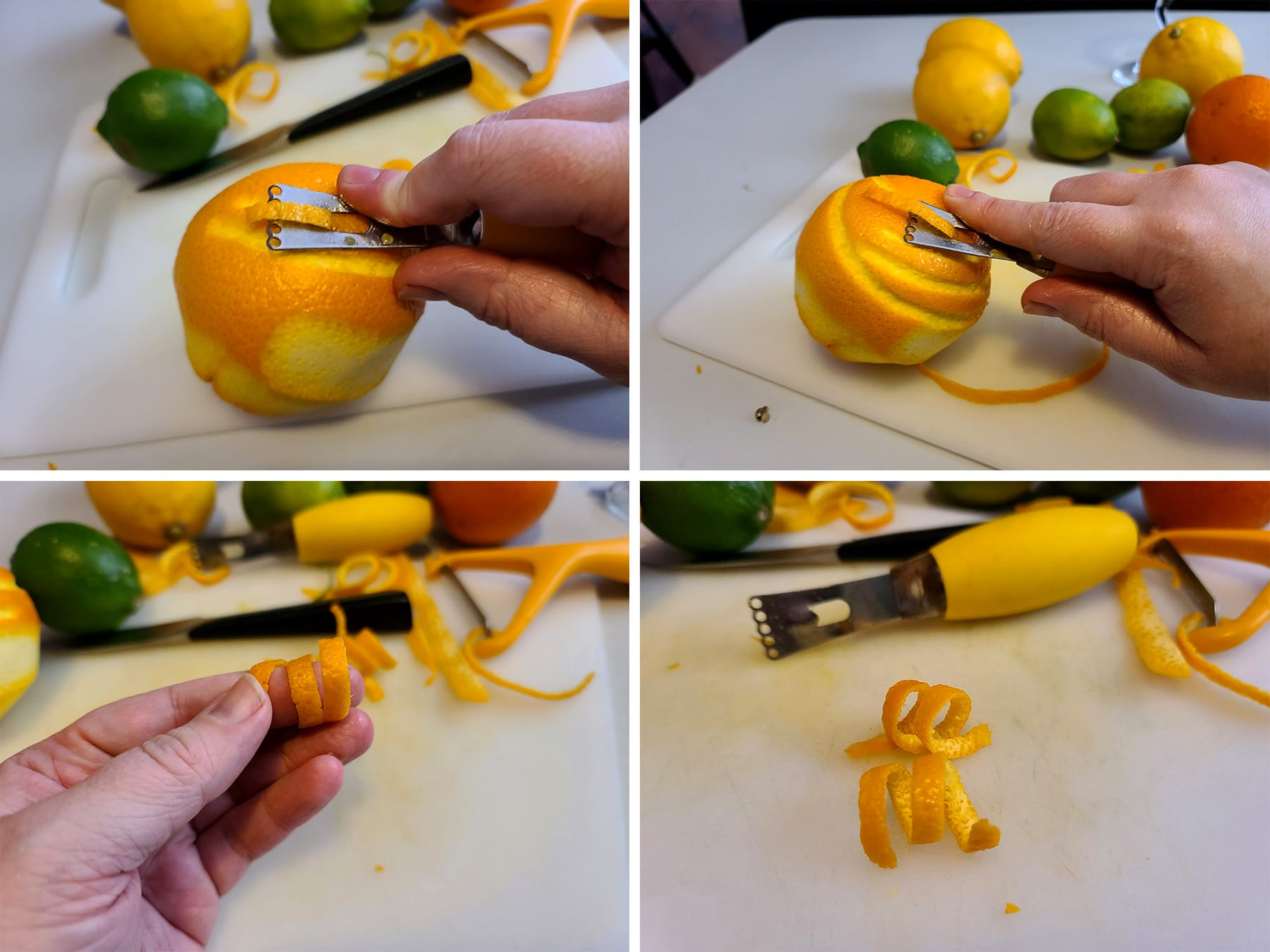 a 4 part compilation image showing a channel knife cutting a long curl of orange peel, and it being twisted.