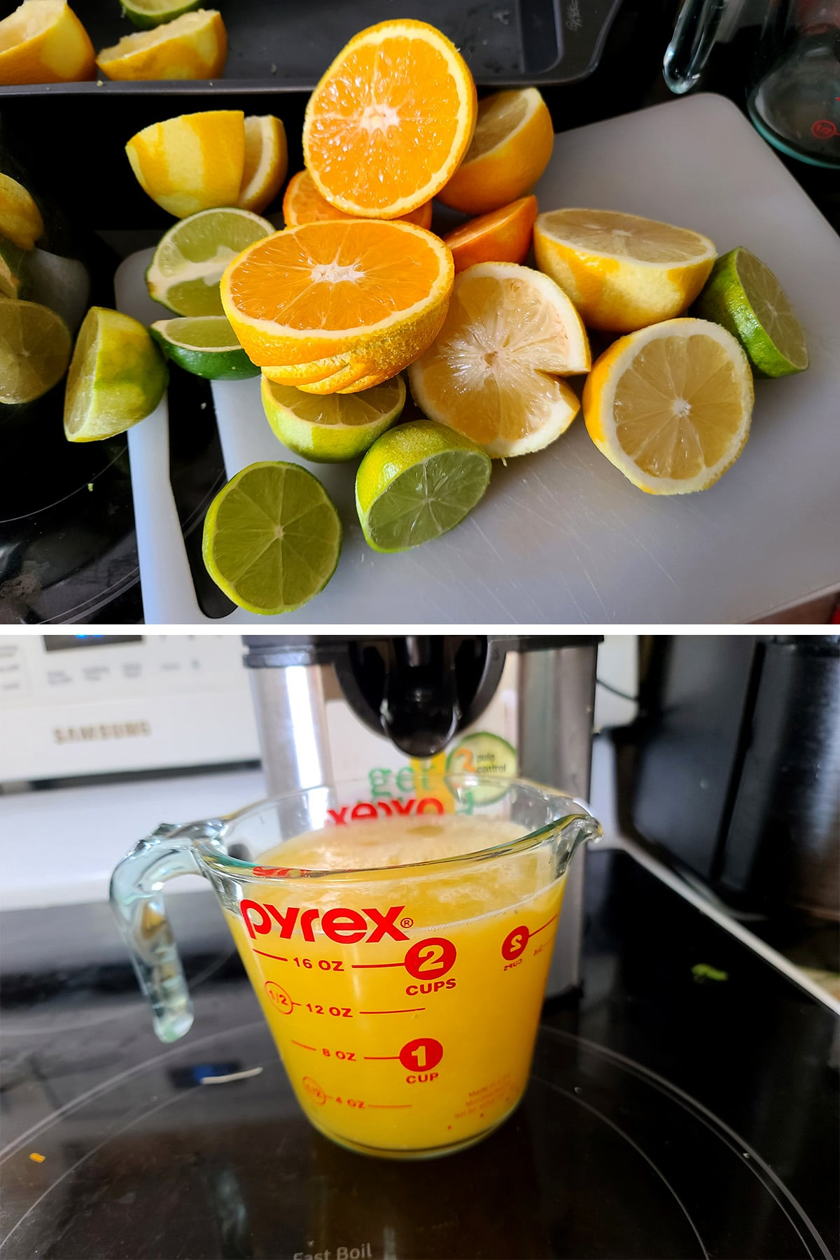 Lemons, limes, and oranges cut in half, and a glass measuring cup full of fresh citrus juice.