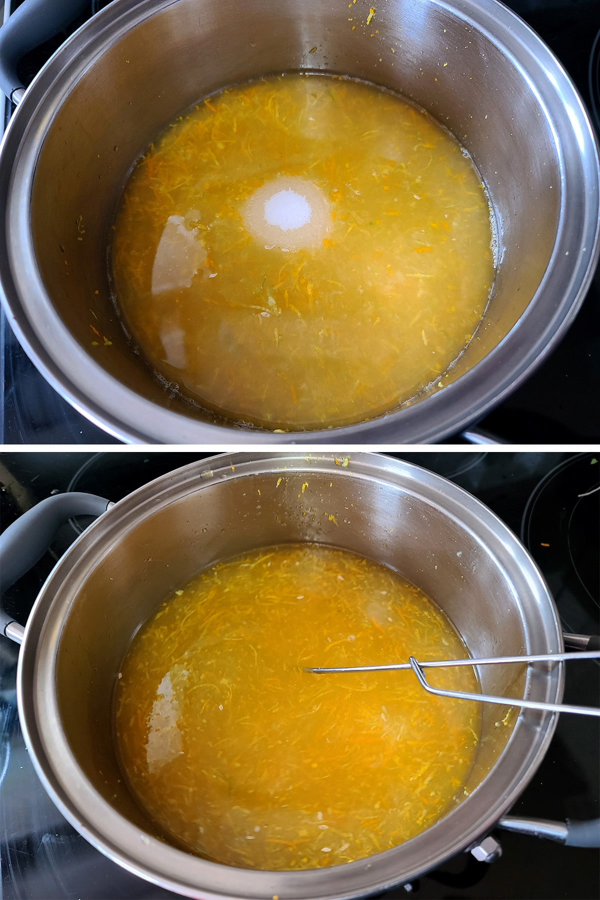 Water and sugar added to the pot of citrus juice.