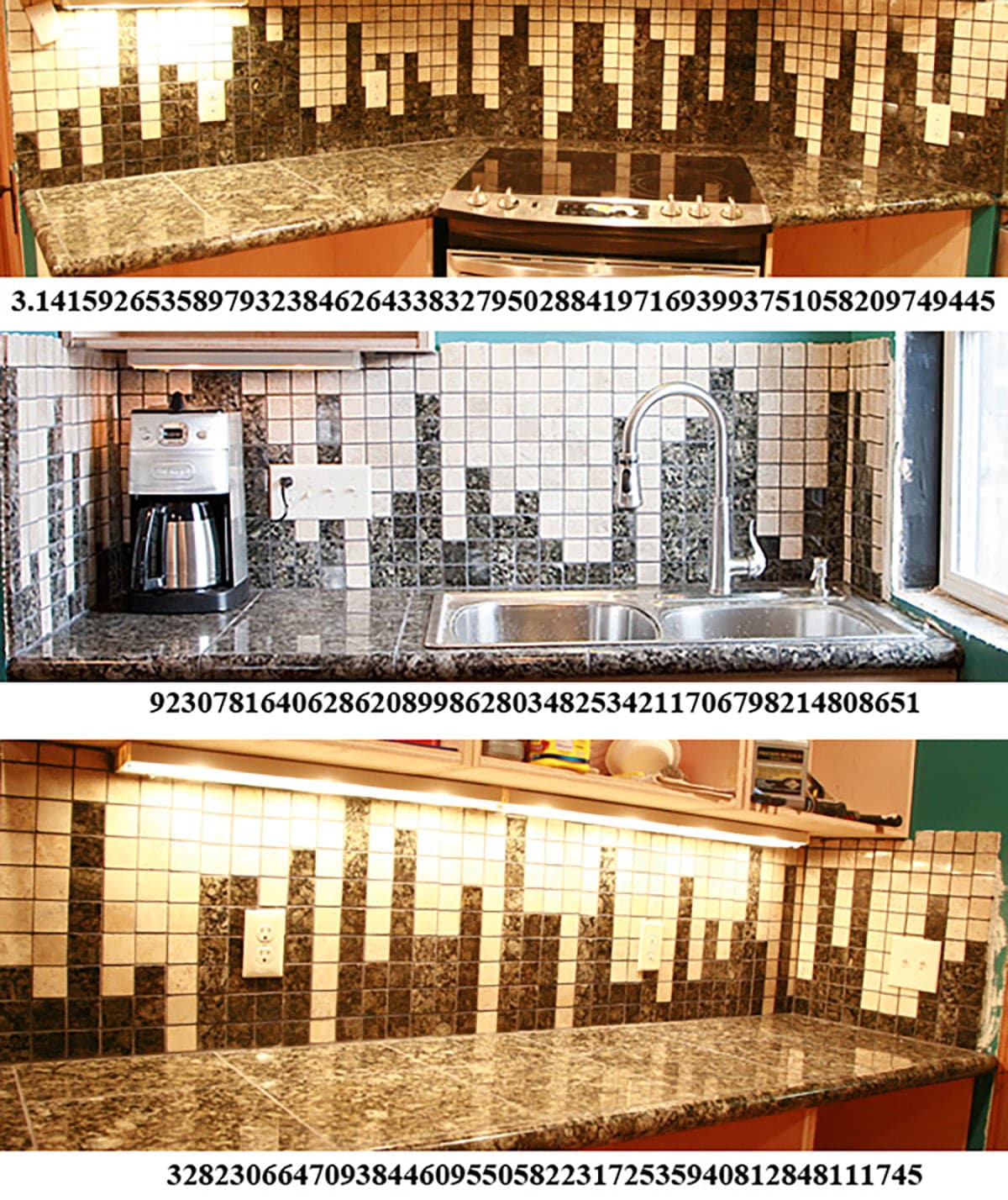 A 3 part compilation image showing sections of the backsplash, with the represented numbers listed beneath each section.