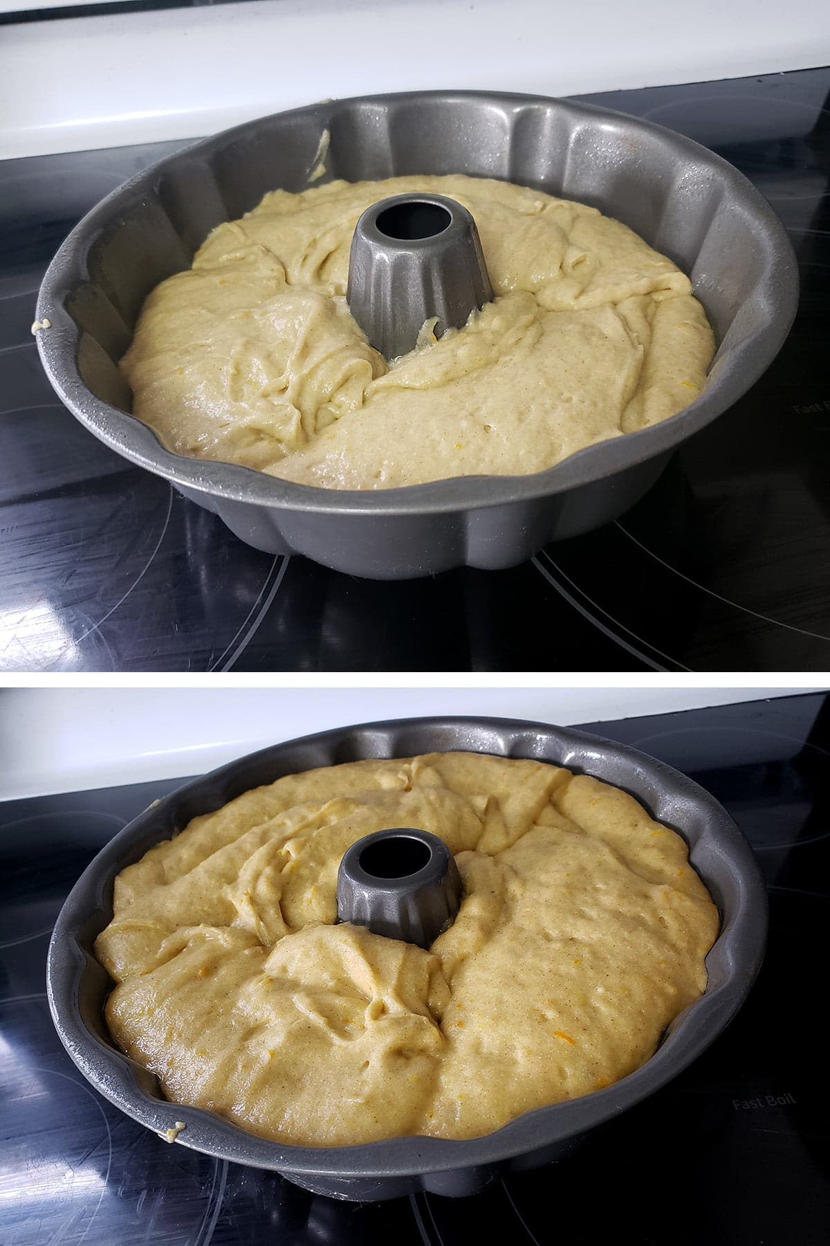 A two part compilation image showing the batter in the bundt pan, before and after rising.