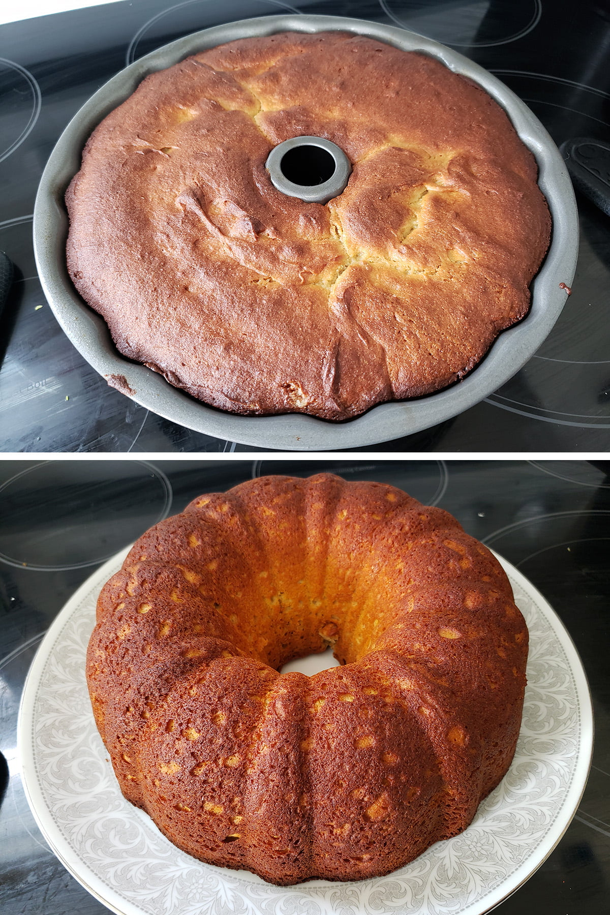 A two part compilation image showing the baked paska in the pan, and then after being turned out on the serving plate.