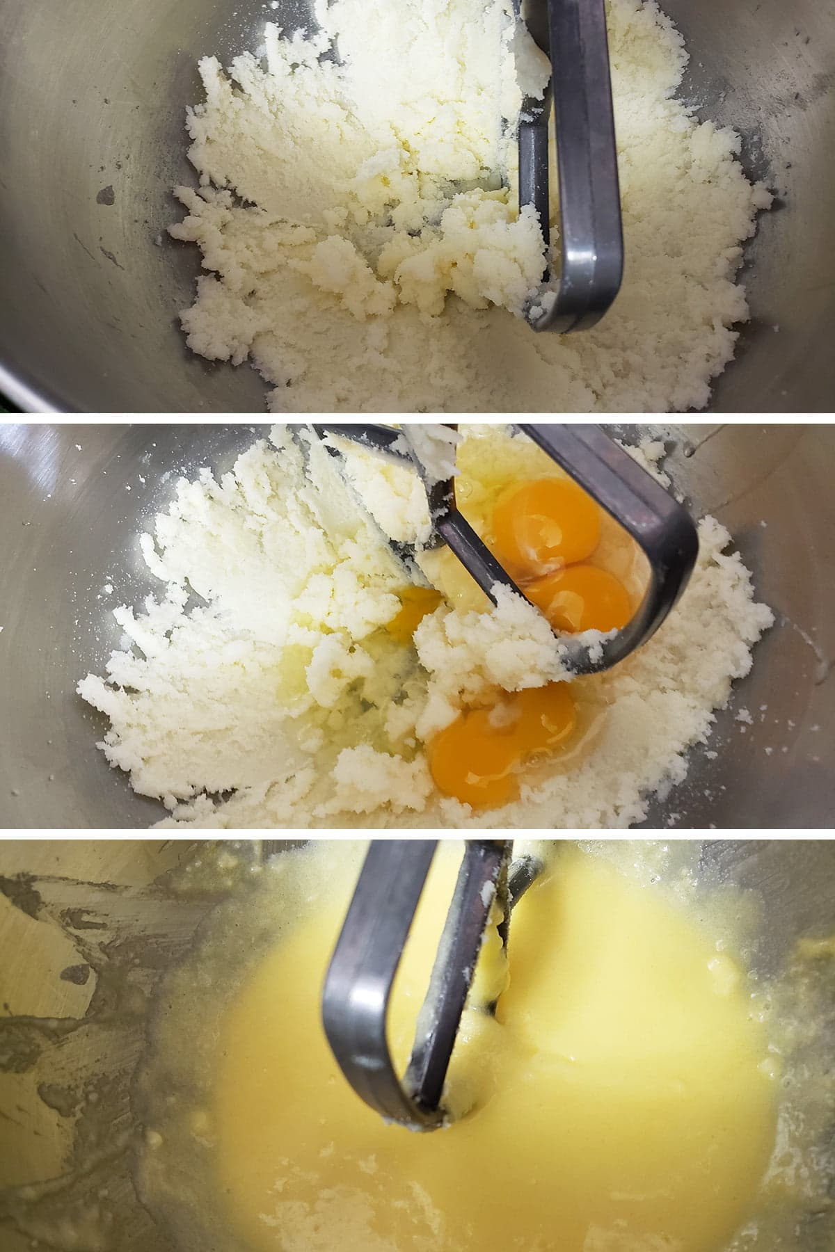 A 3 part compilation image showing butter and sugar being beaten together, the addition of eggs, and a smooth yellow batter.