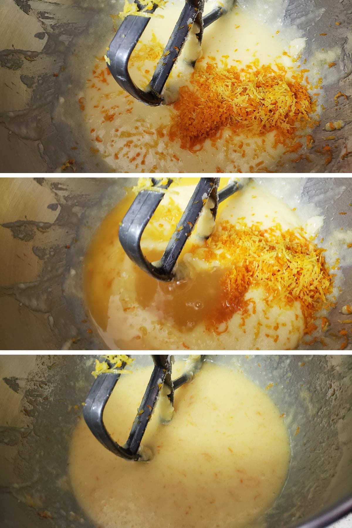 A 3 part compilation image showing zest and juice being added to the batter, and the smooth yellow batter after mixing.