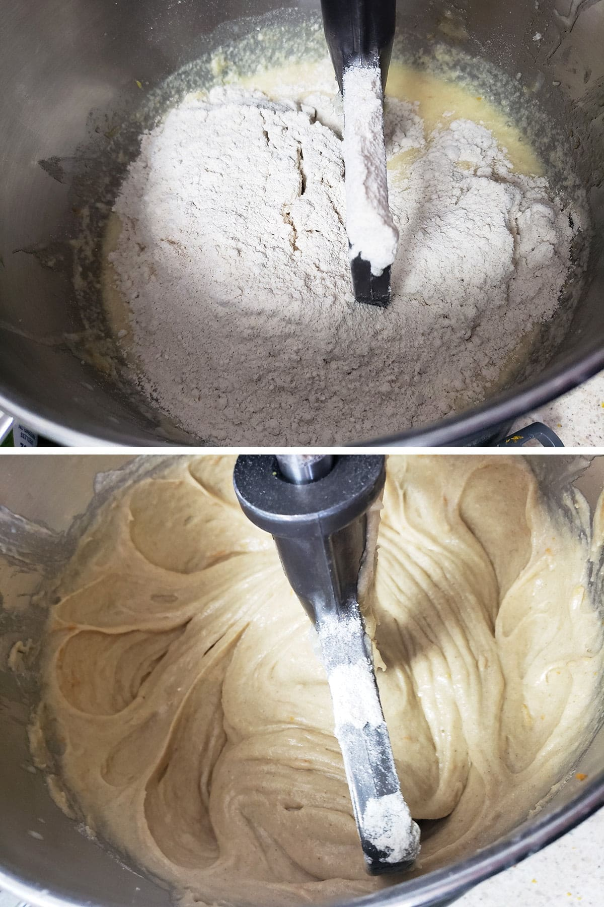 A two part compilation image showing flour being added the the batter, and the final batter after mixing.