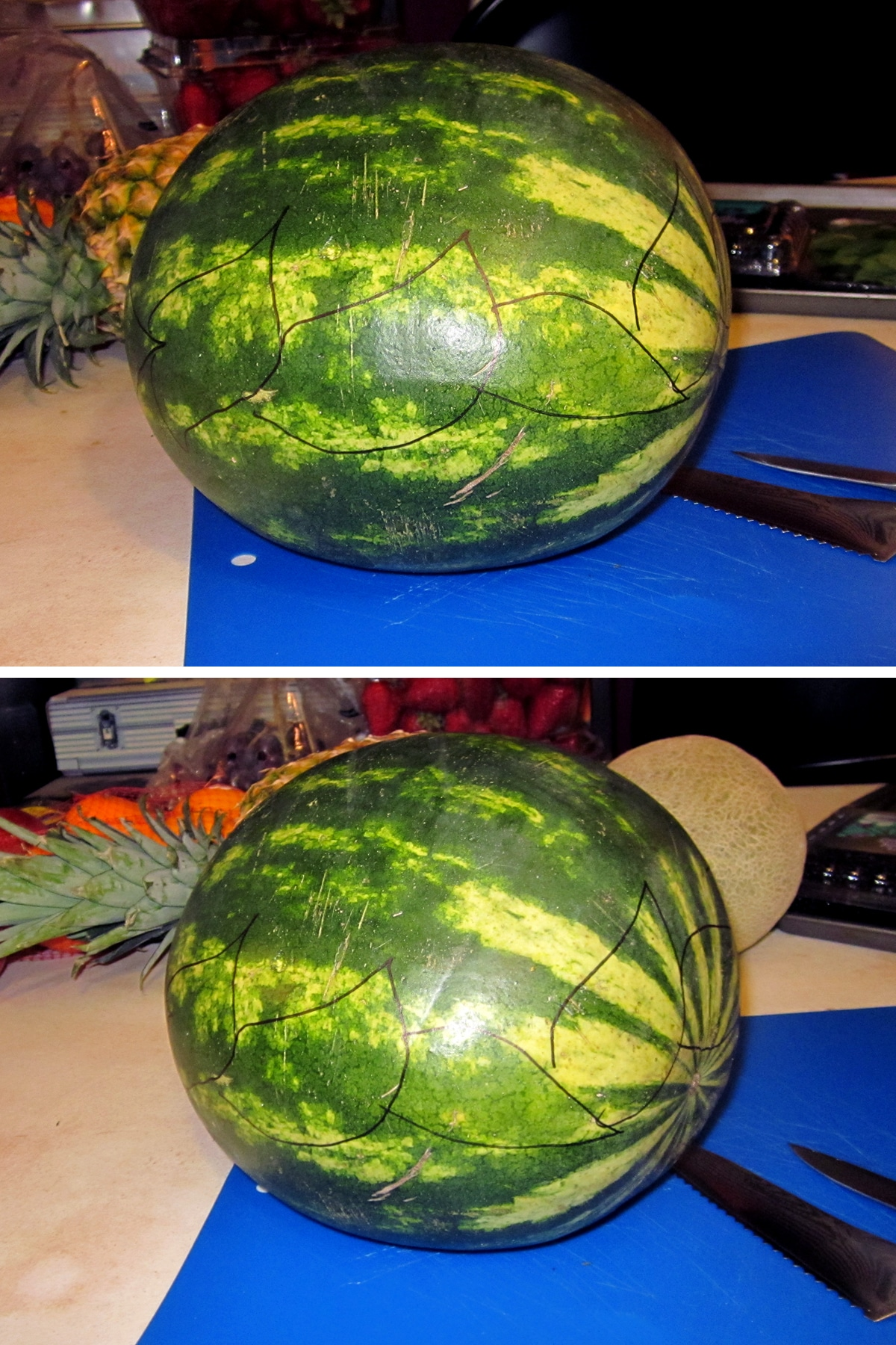 A leaf design is drawn on the watermelon with Sharpie markers.