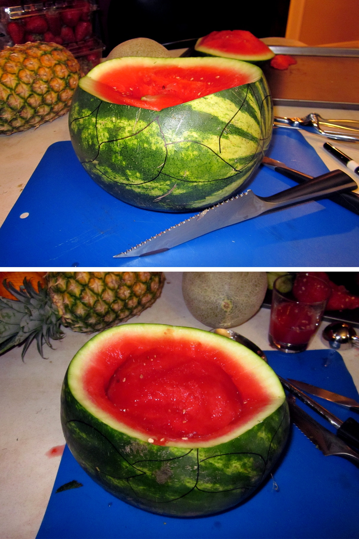 The top part of the watermelon has been cut off, and the inside scooped out.