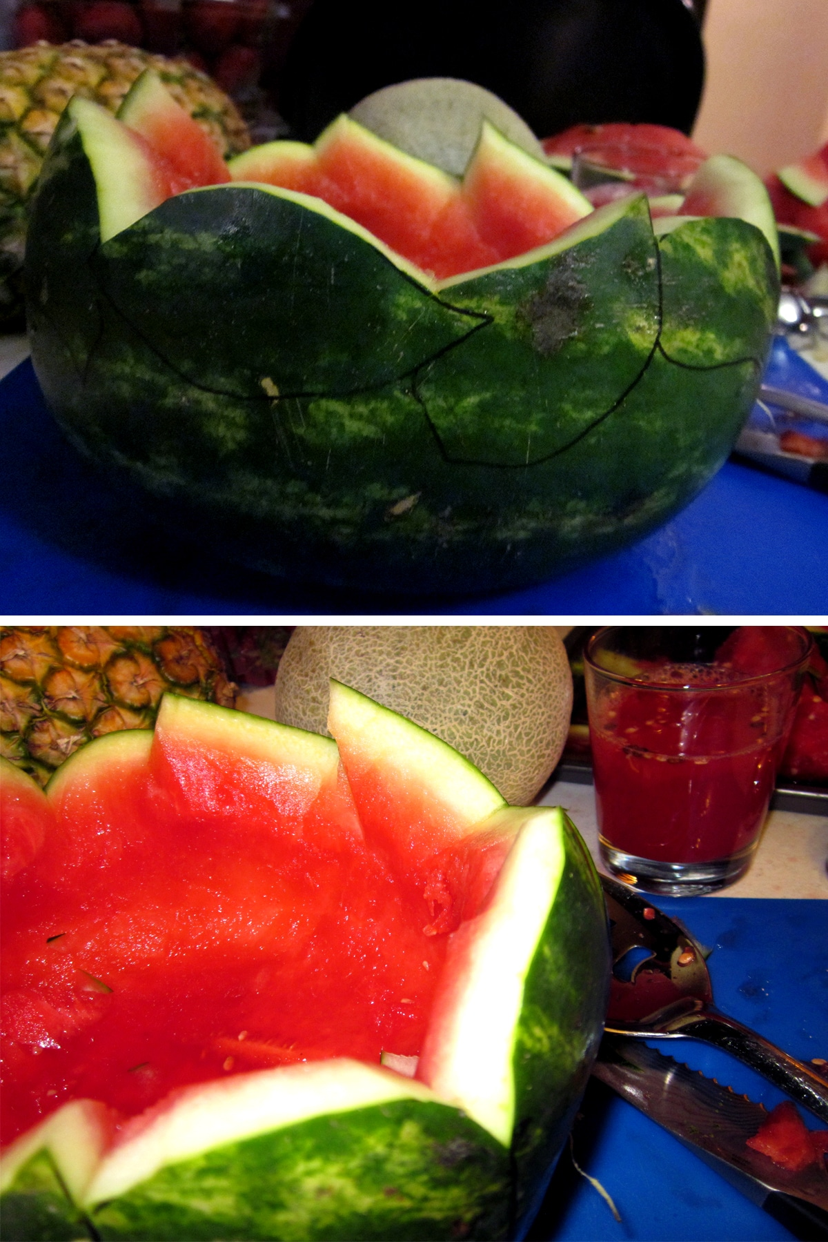 A close up view of the leaf design around the top edge of the watermelon.