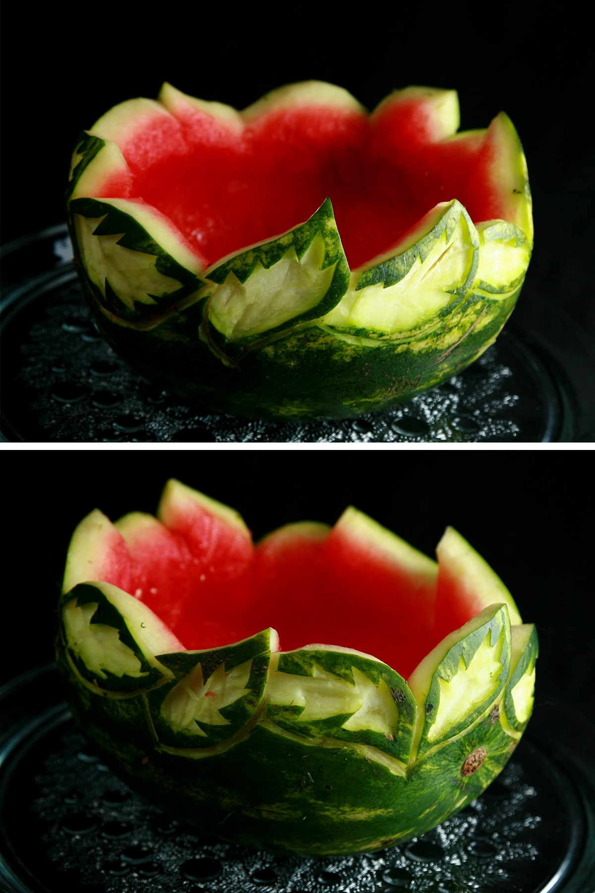 An empty watermelon bowl with a green and white leaf design carved into the top edge.