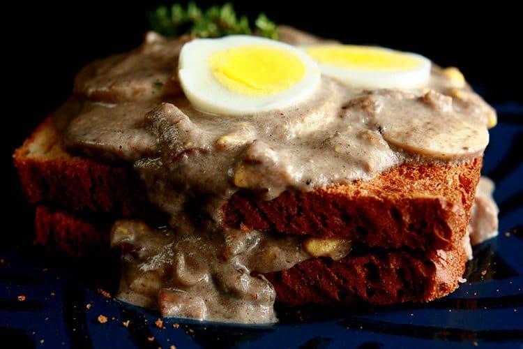 Mushroom Soup and Eggs on Toast