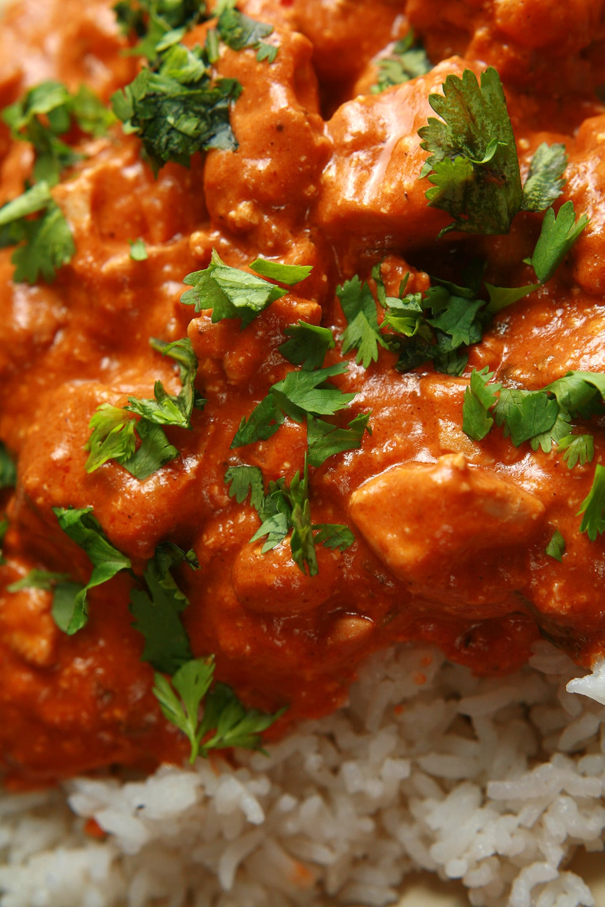 A close up view of Butter Chicken - Chicken in a  creamy tomato sauce.