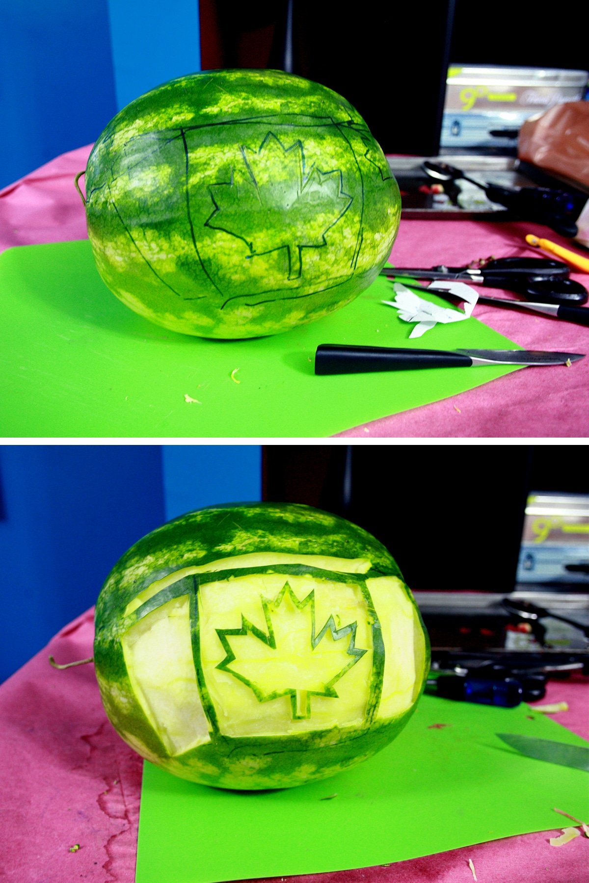A two part image showing a Canadian flag drawn on the watermelon, then carved out of it.
