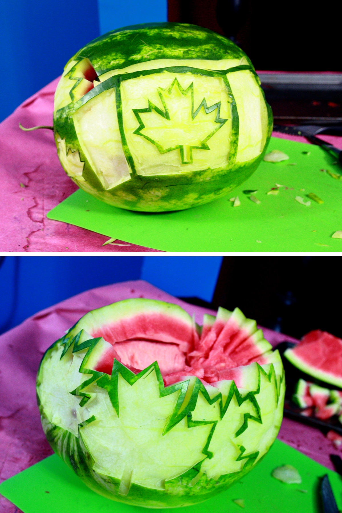 A two part image showing the top section of the watermelon being cut off.