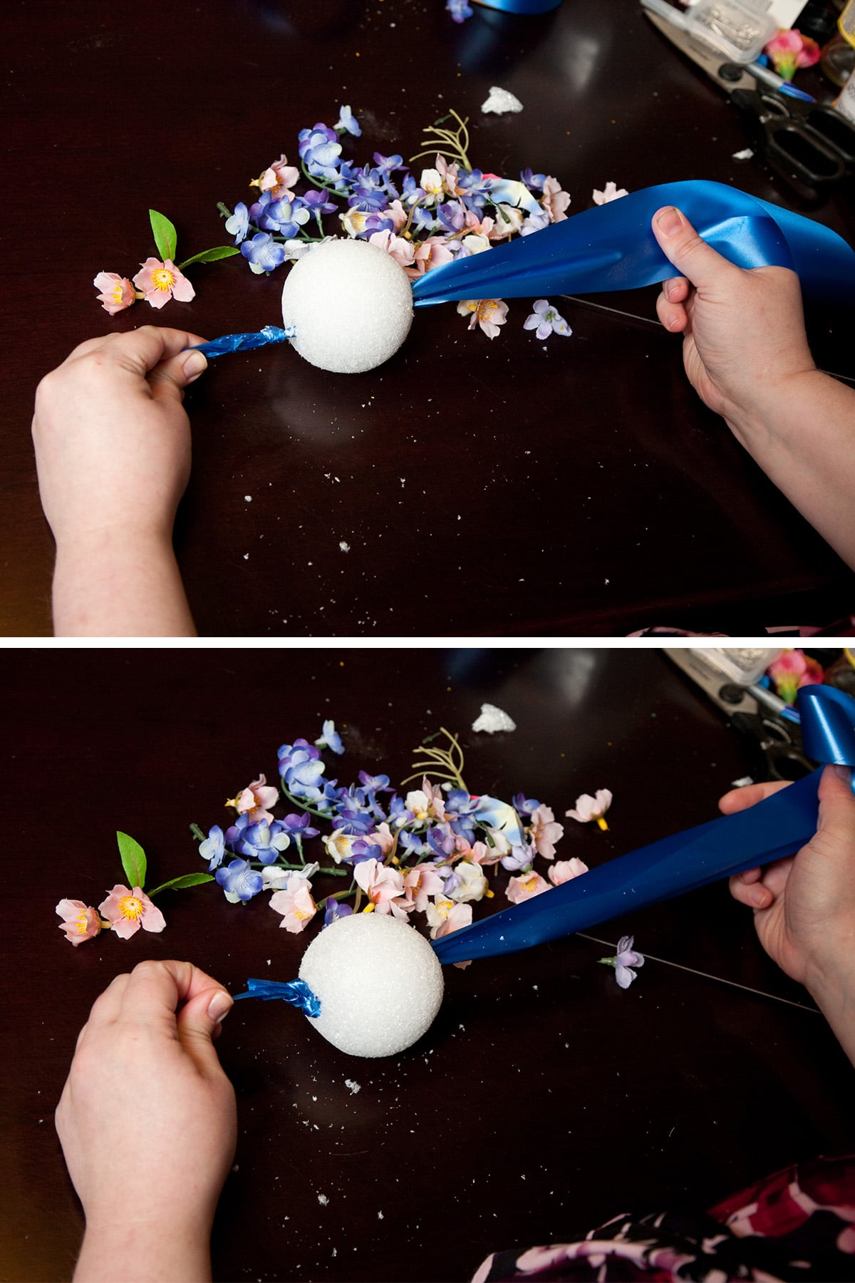 Two hands feed the ribbon through the styrofoam and knot it at the other end.