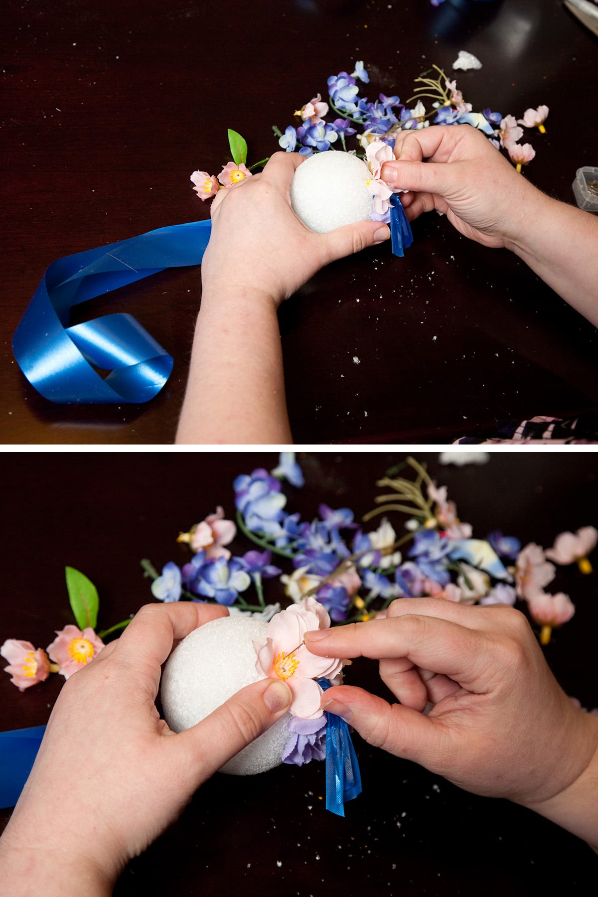 Flowers are being pinned into the styrofoam ball.